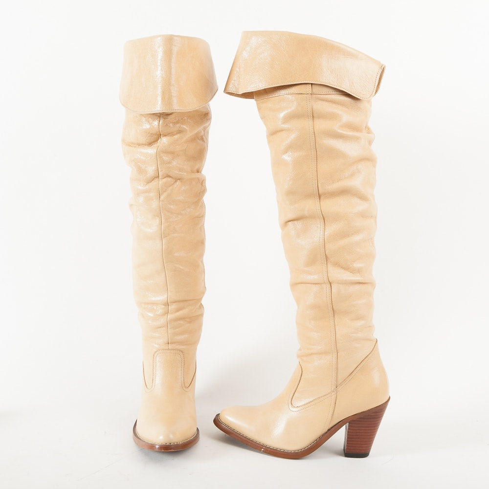 Women's Cream Leather Knee High Boots