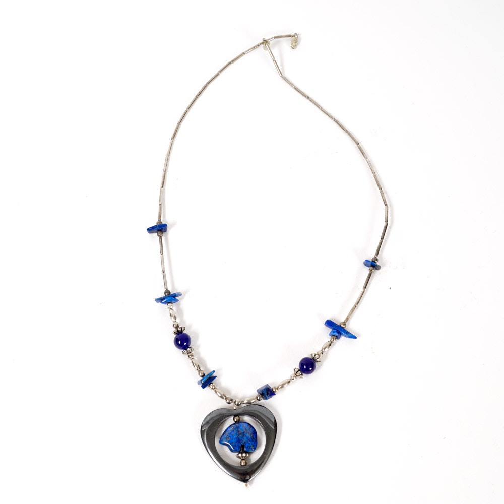 Native American Style Silver and Blue Stone Necklace