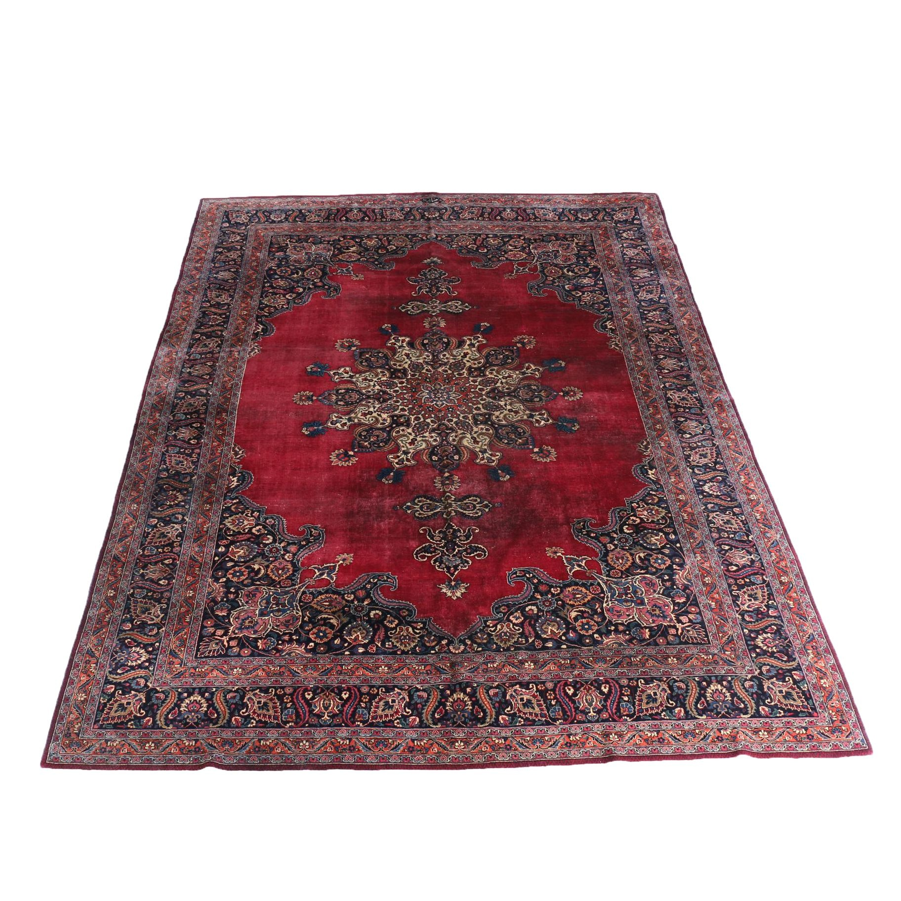 Hand-Knotted Persian Mashad Large Area Rug
