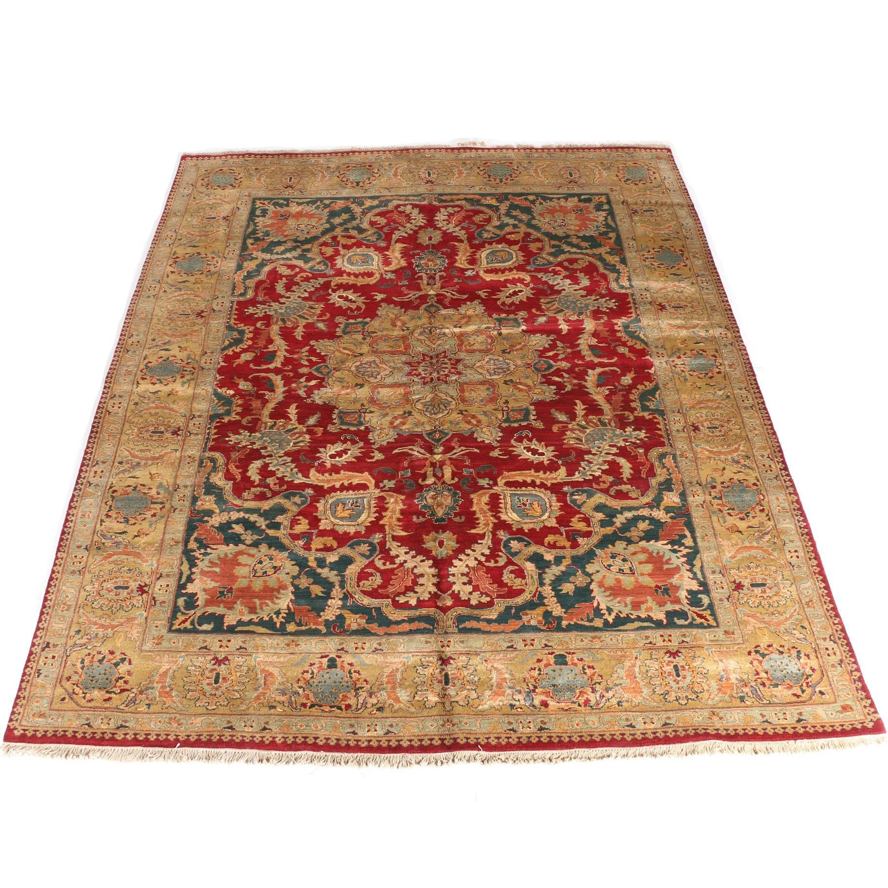 Large Hand-Knotted Indian Agra Rug