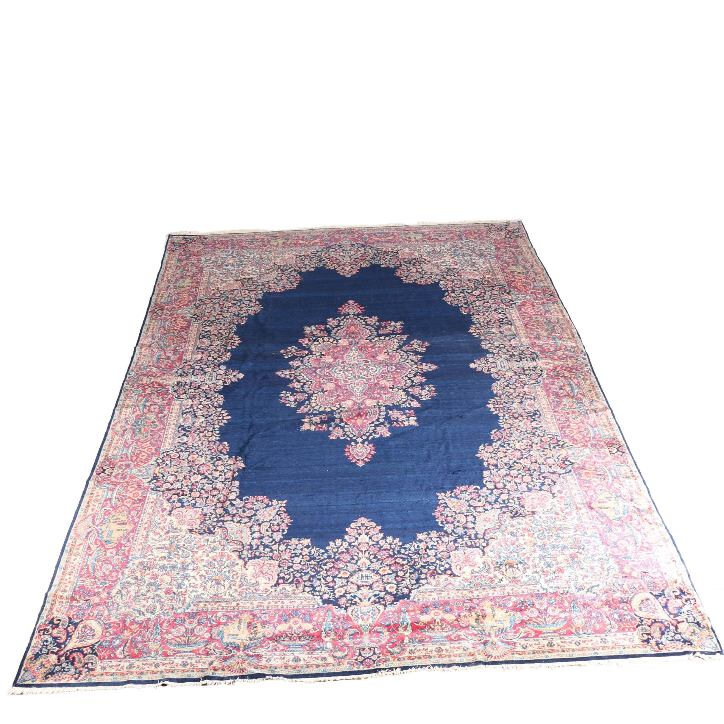 Vintage Room-Sized Hand-Knotted Kerman Area Rug, Circa 1920
