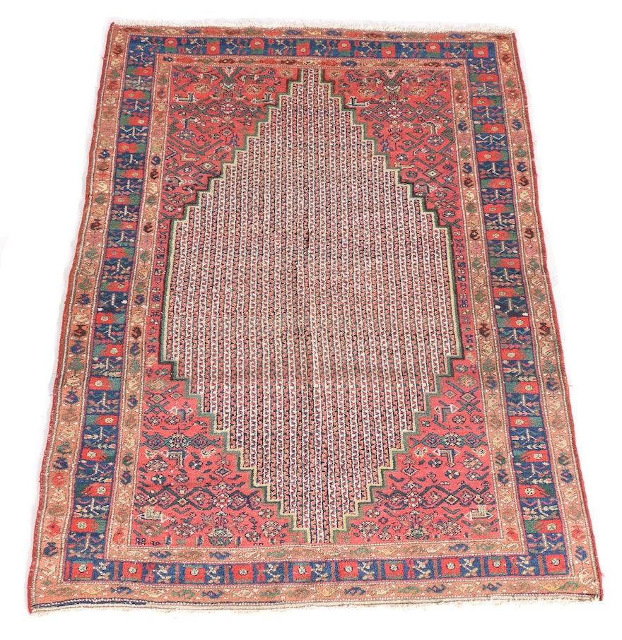 Antique Hand-Knotted Kurdish Area Rug : EBTH