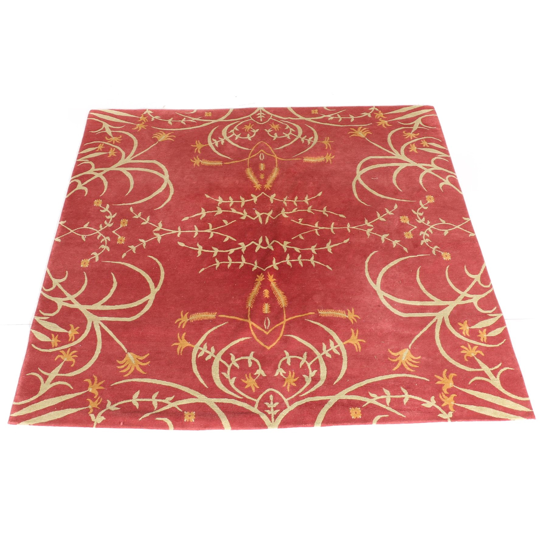 Hand-Knotted Floral Wool Area Rug