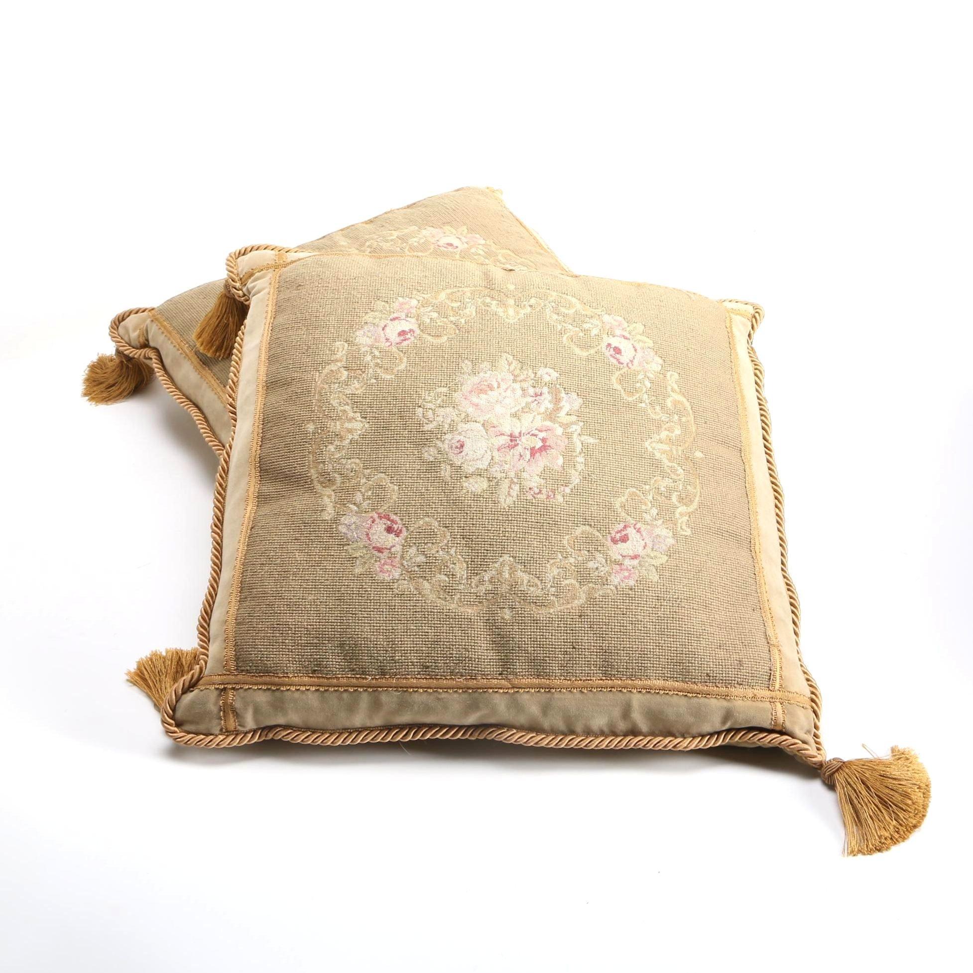 Pair of Vintage Needlepoint Pillows