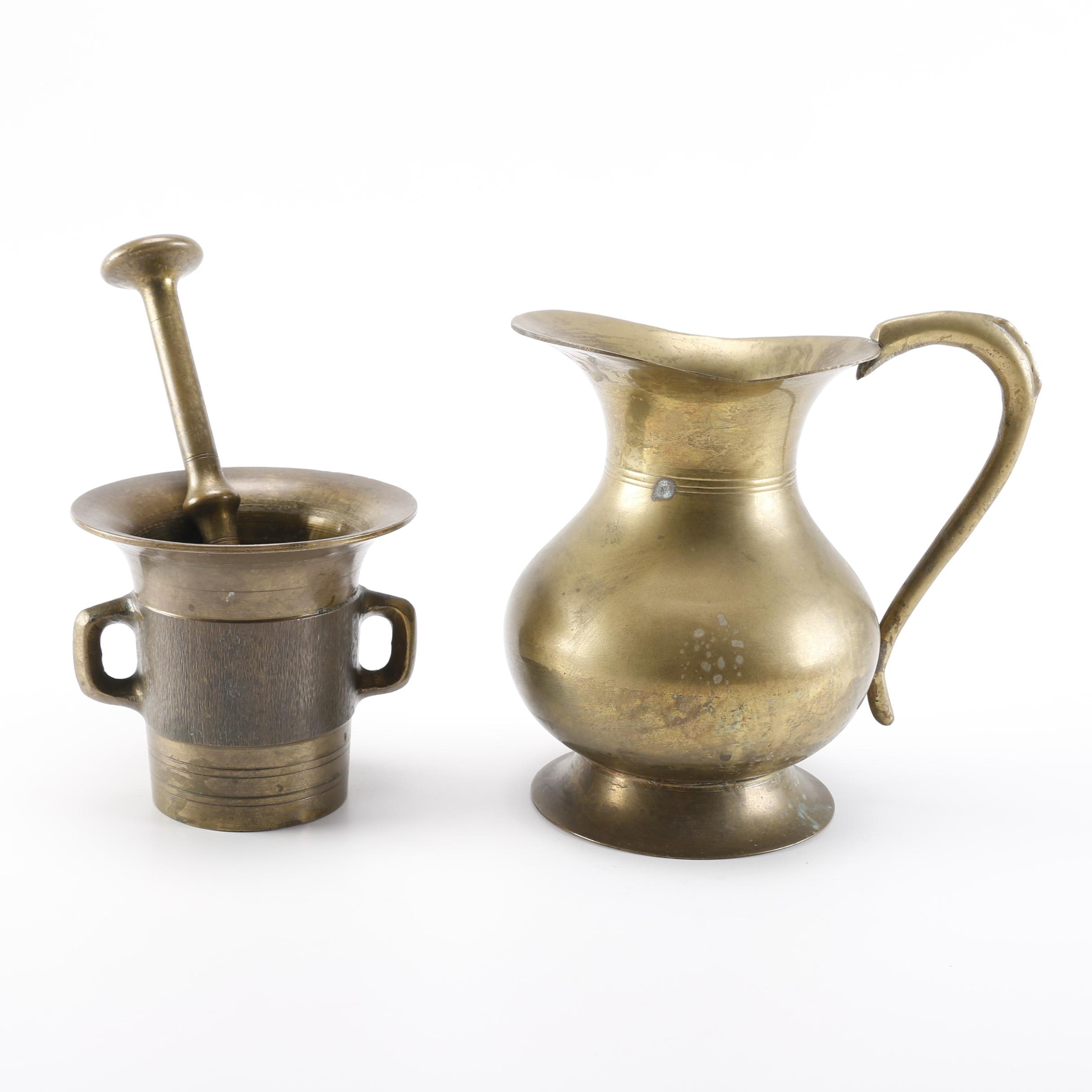Brass Pitcher with a Pestal and Morter Set