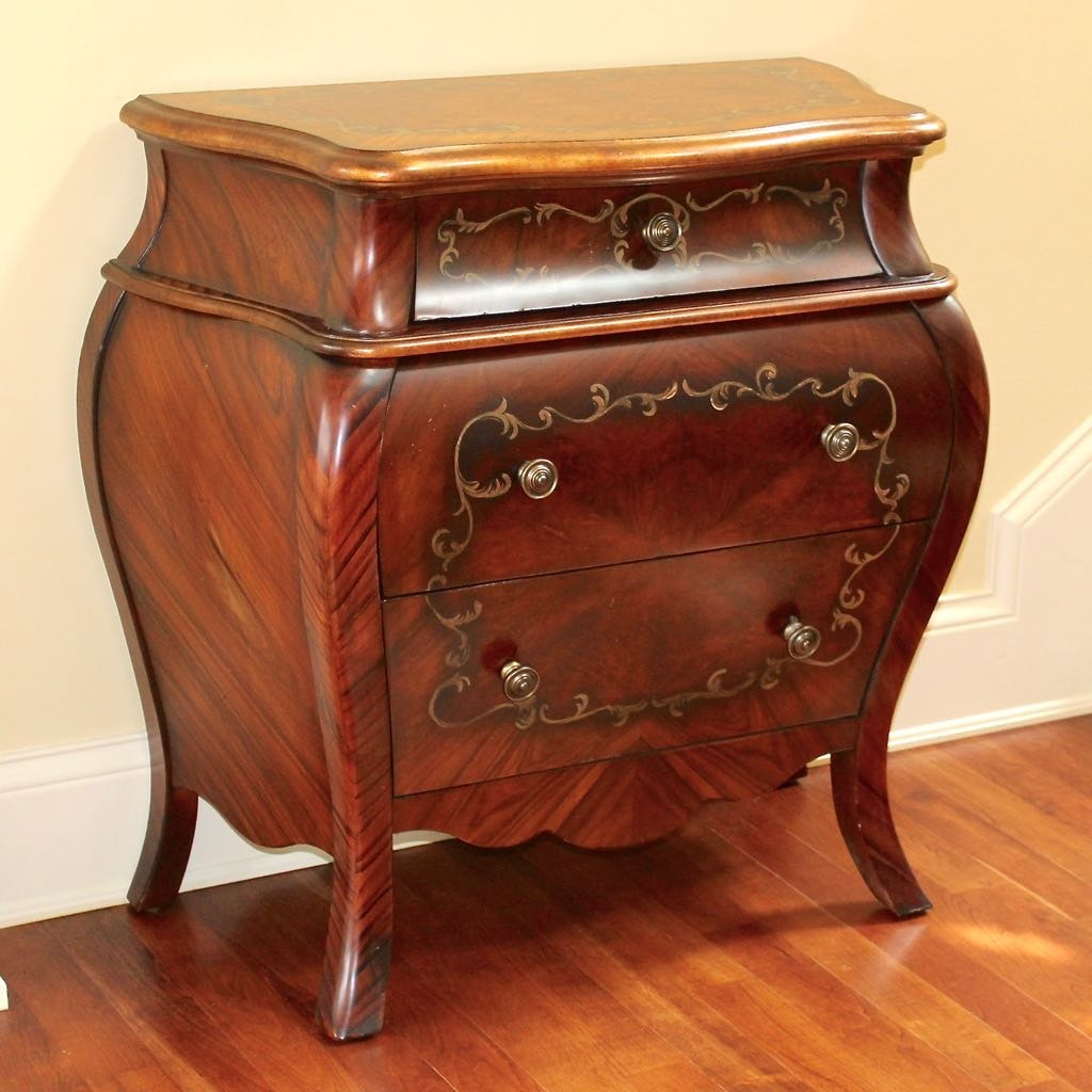 French Style Bombe Chest with Burlwood Inlay by Hooker