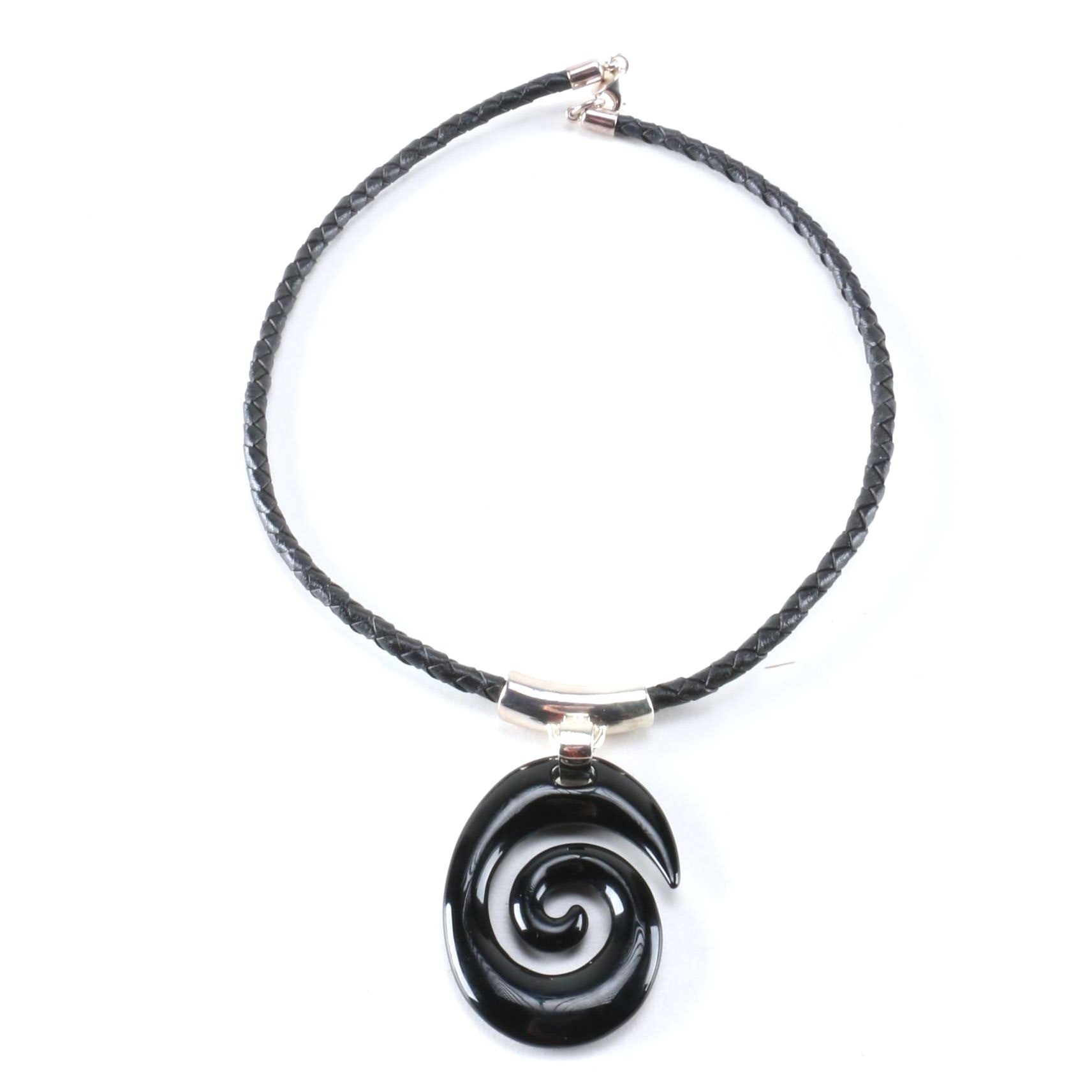 RLM Studio Leather, Sterling Silver, and Glass Pendant Necklace