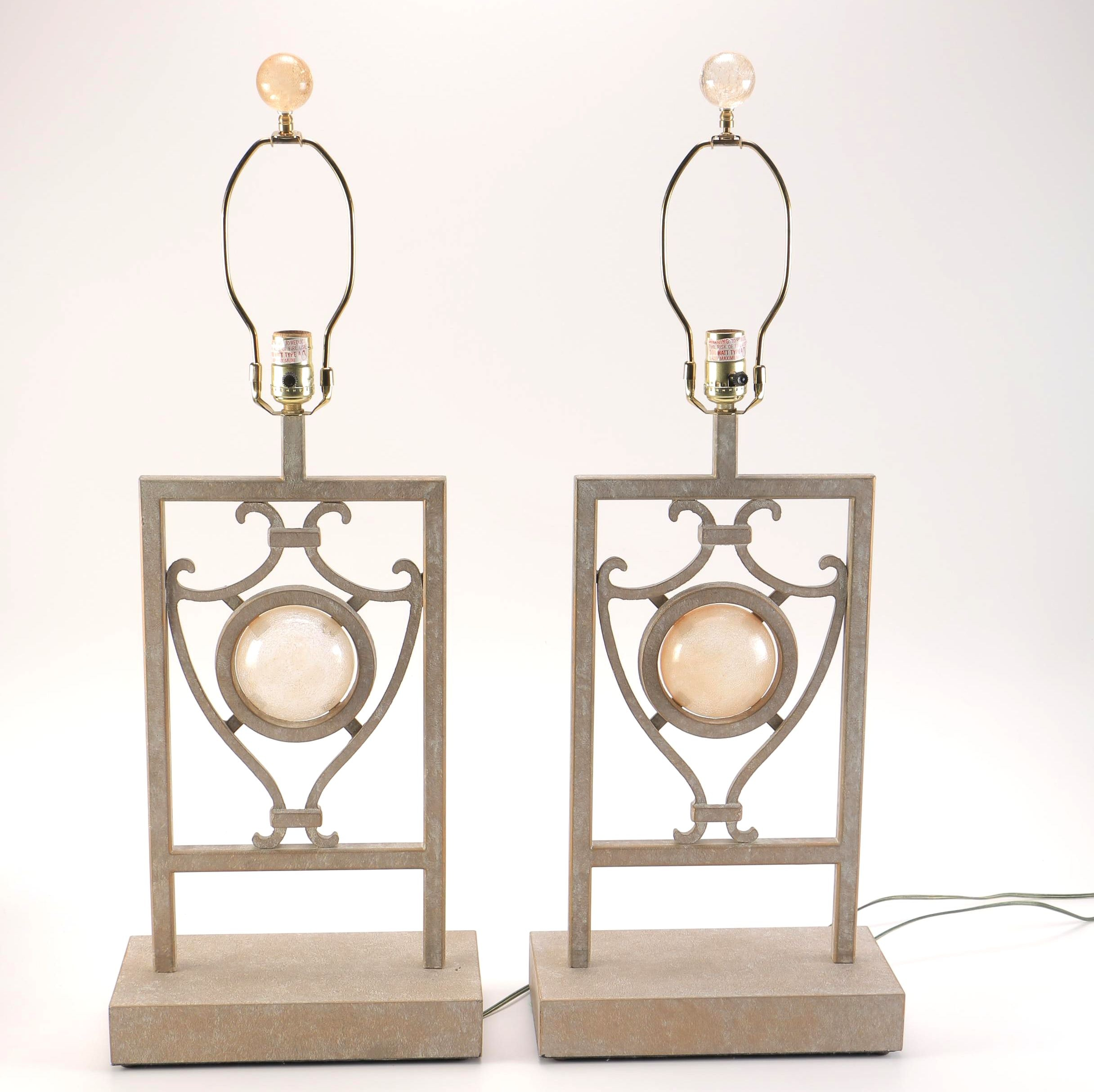 Pair of Metal Tone and Glass Table Lamps