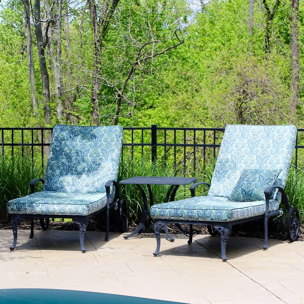 Two Frontgate Chaise Loungers + Table