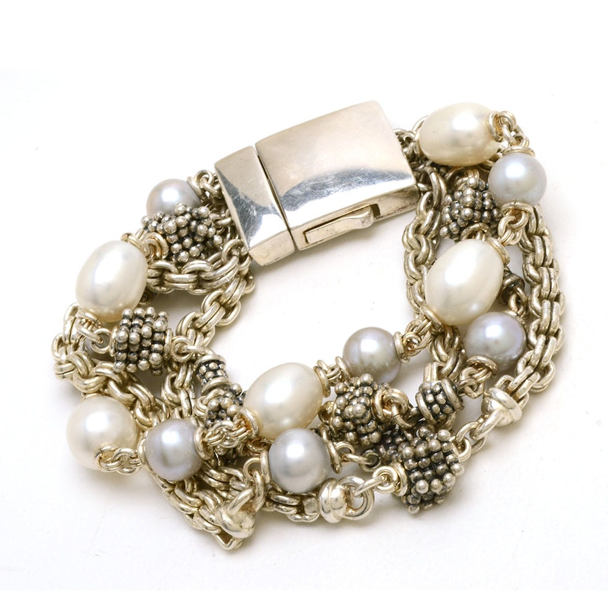 Michael Dawkins Multi Strand Sterling And Cultured Pearl Bracelet