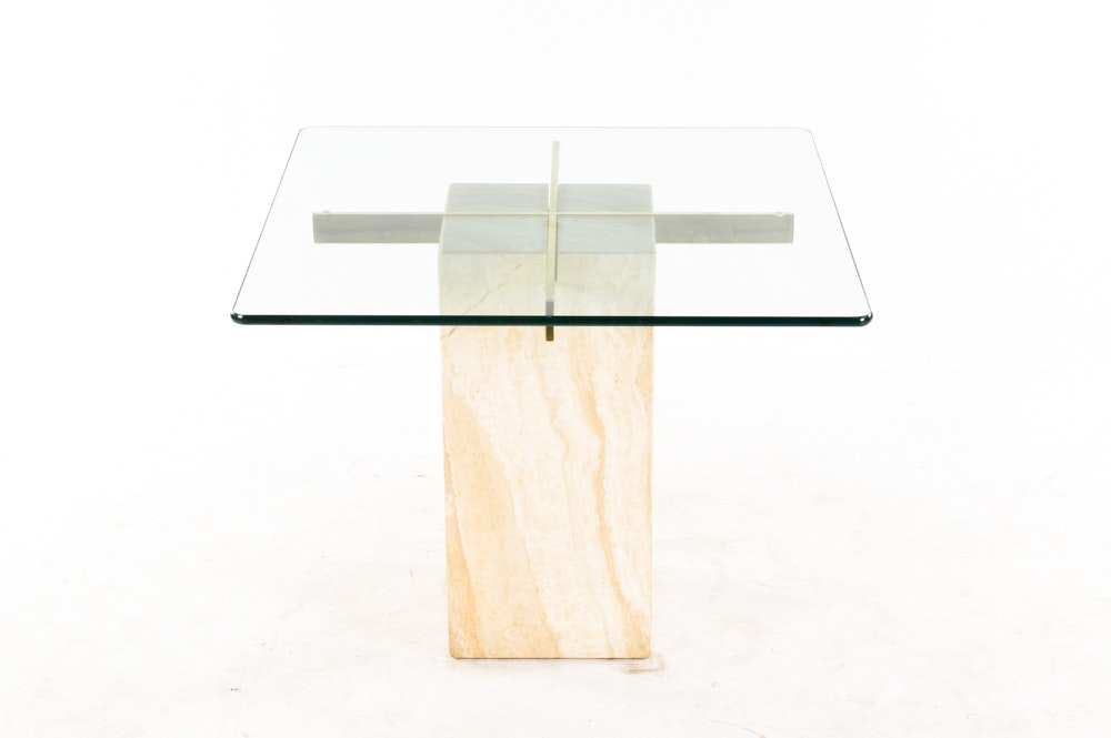Mid Century Modern Marble and Glass Side Table