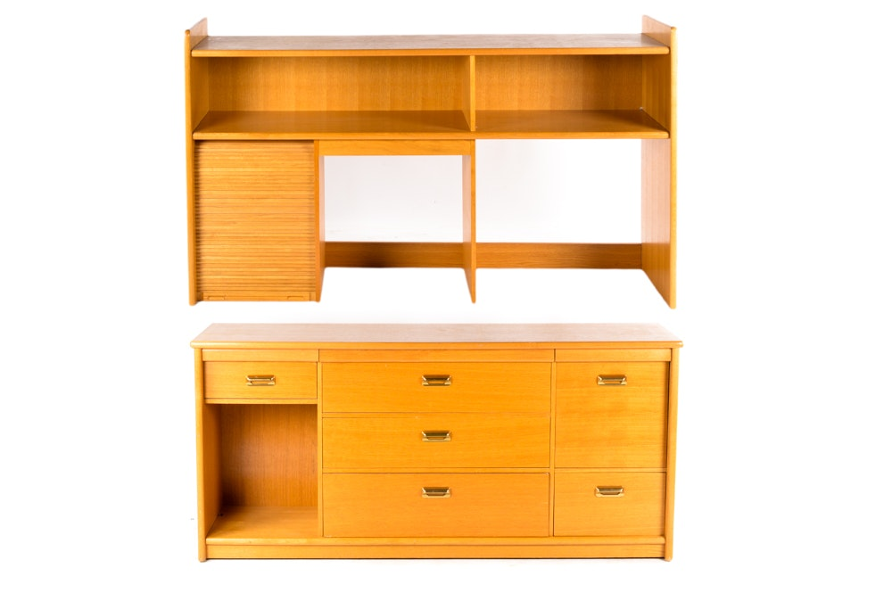 Mid Century Modern Style Cabinet With Hutch
