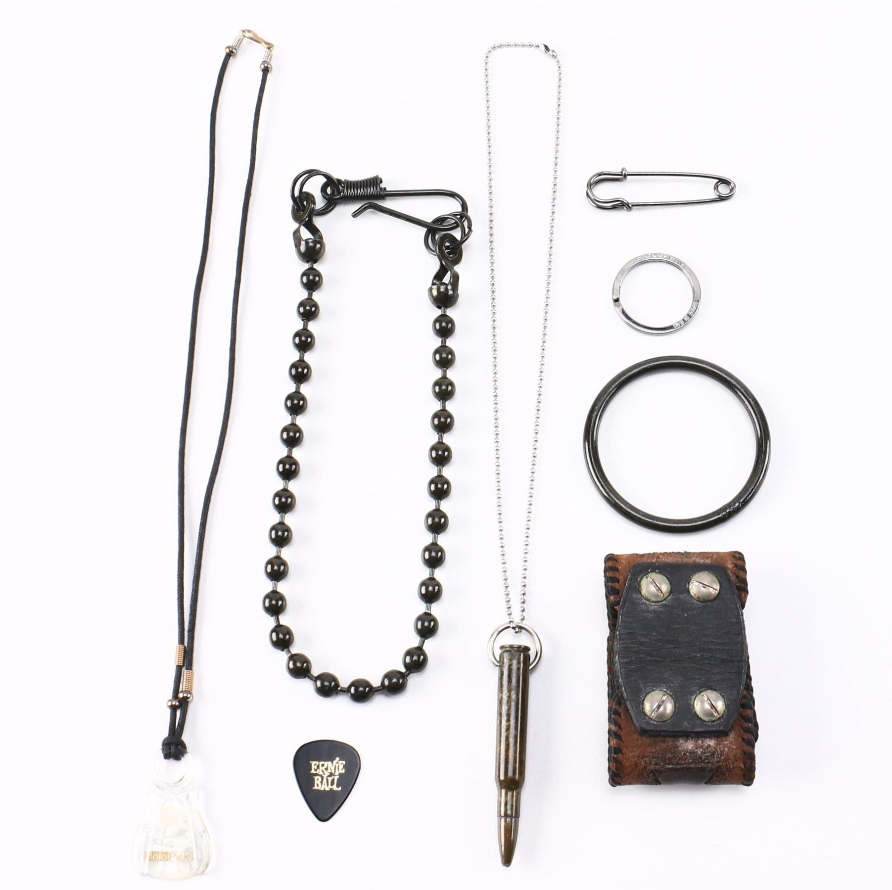 Metal and Leather Costume Jewelry