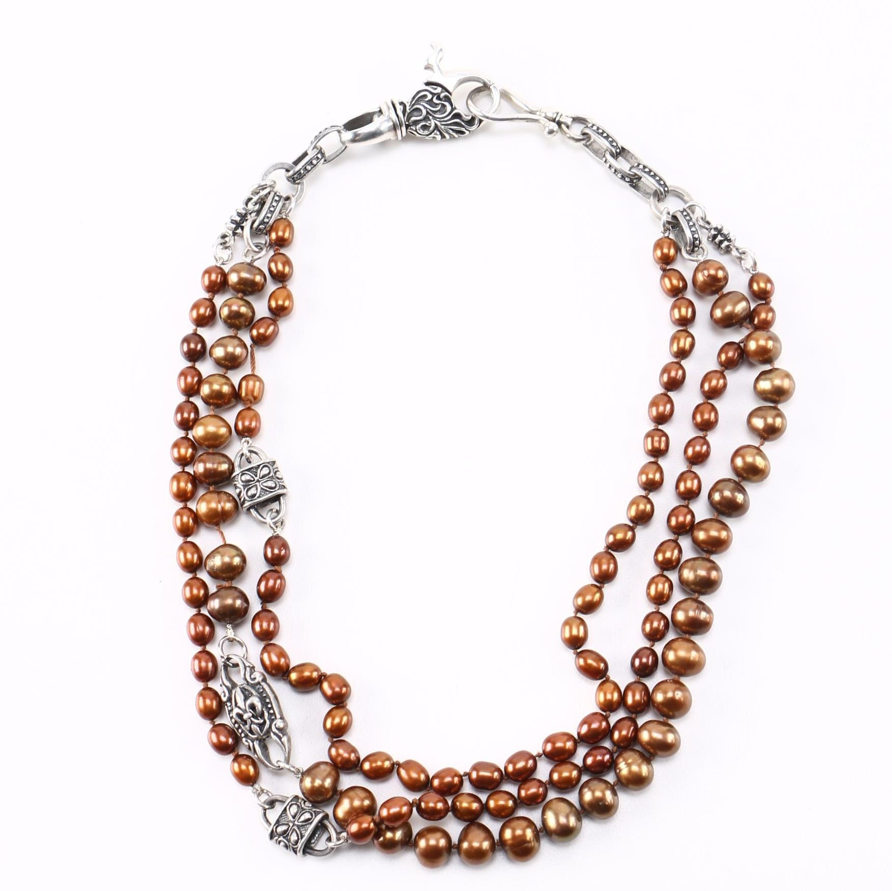 Sterling Freshwater Pearl Necklace by Chevron Royale