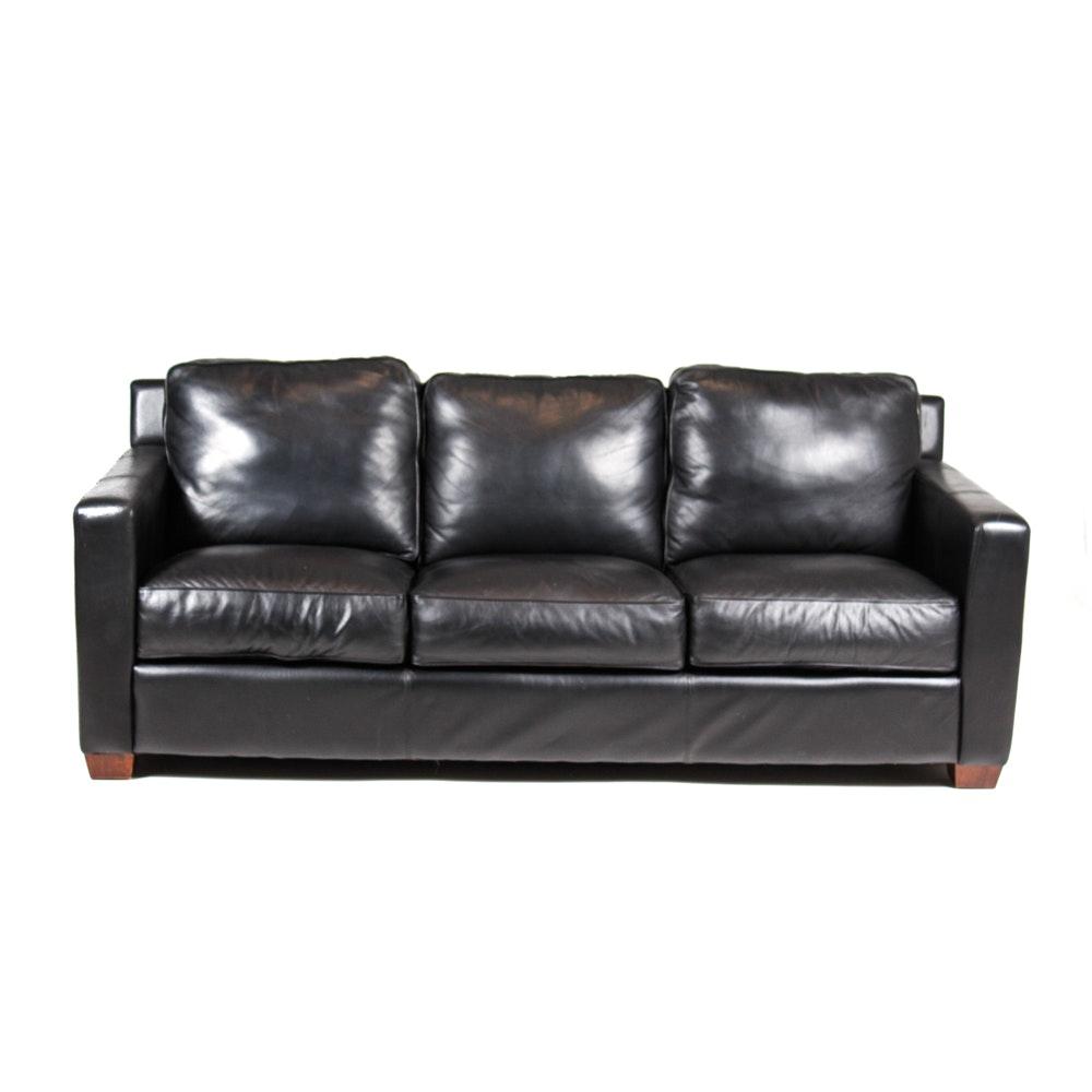Thomasville Black Leather Sofa
