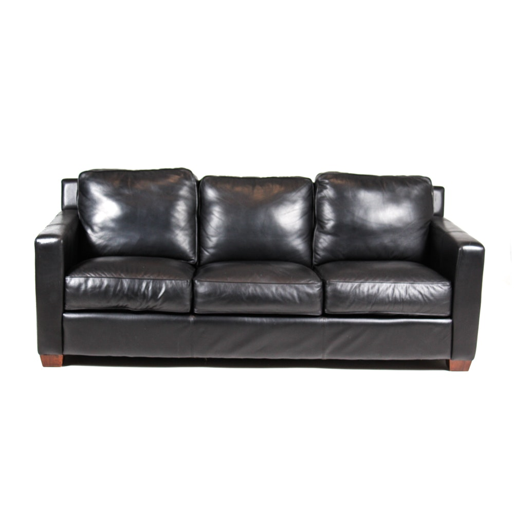 Thomasville Black Leather Sofa