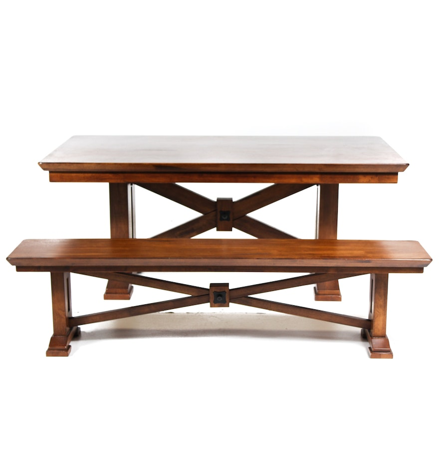 Dining Table Bench Seat: Solid Oak Dining Table And Bench Seat : EBTH