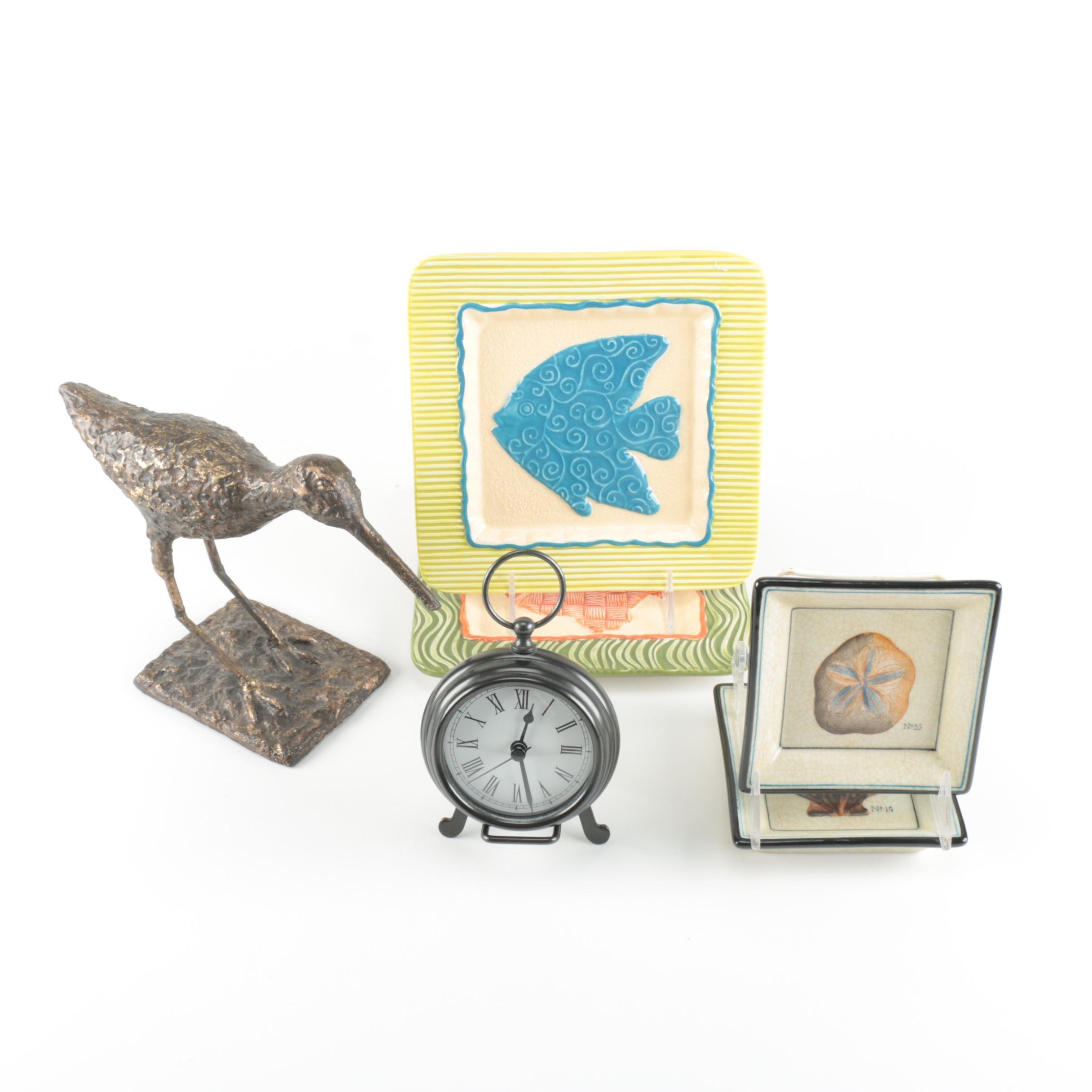 Beach-Themed Décor With Desk Clock