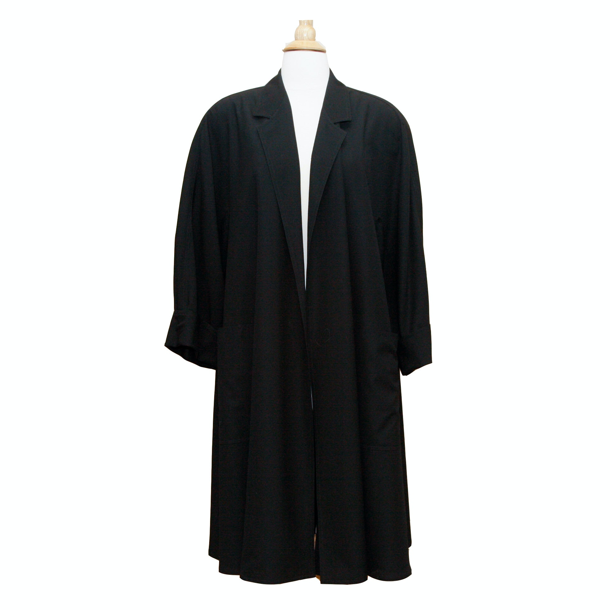 Max Mara Black Wool Swing Coat