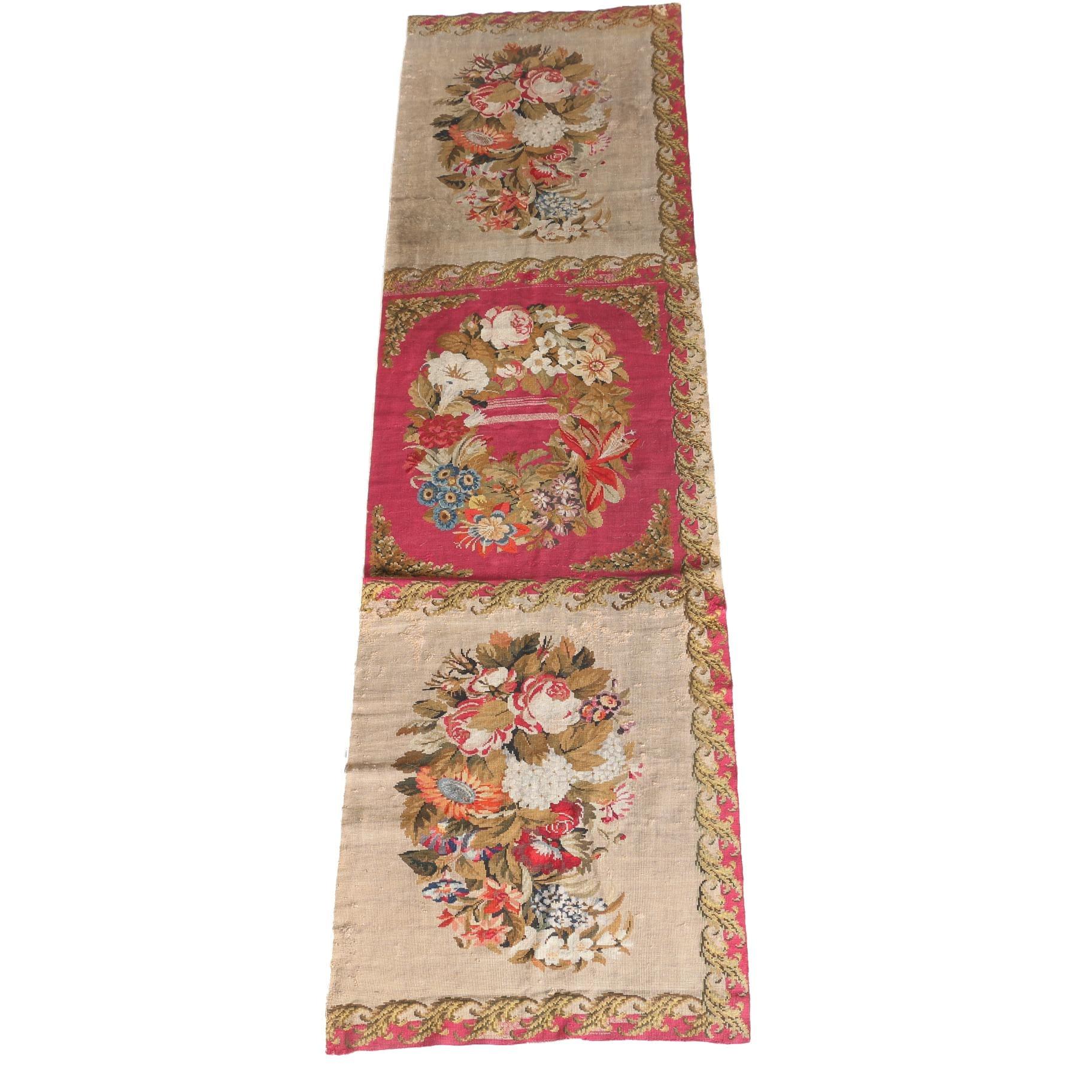 Antique Needlepoint Aubusson Carpet Runner