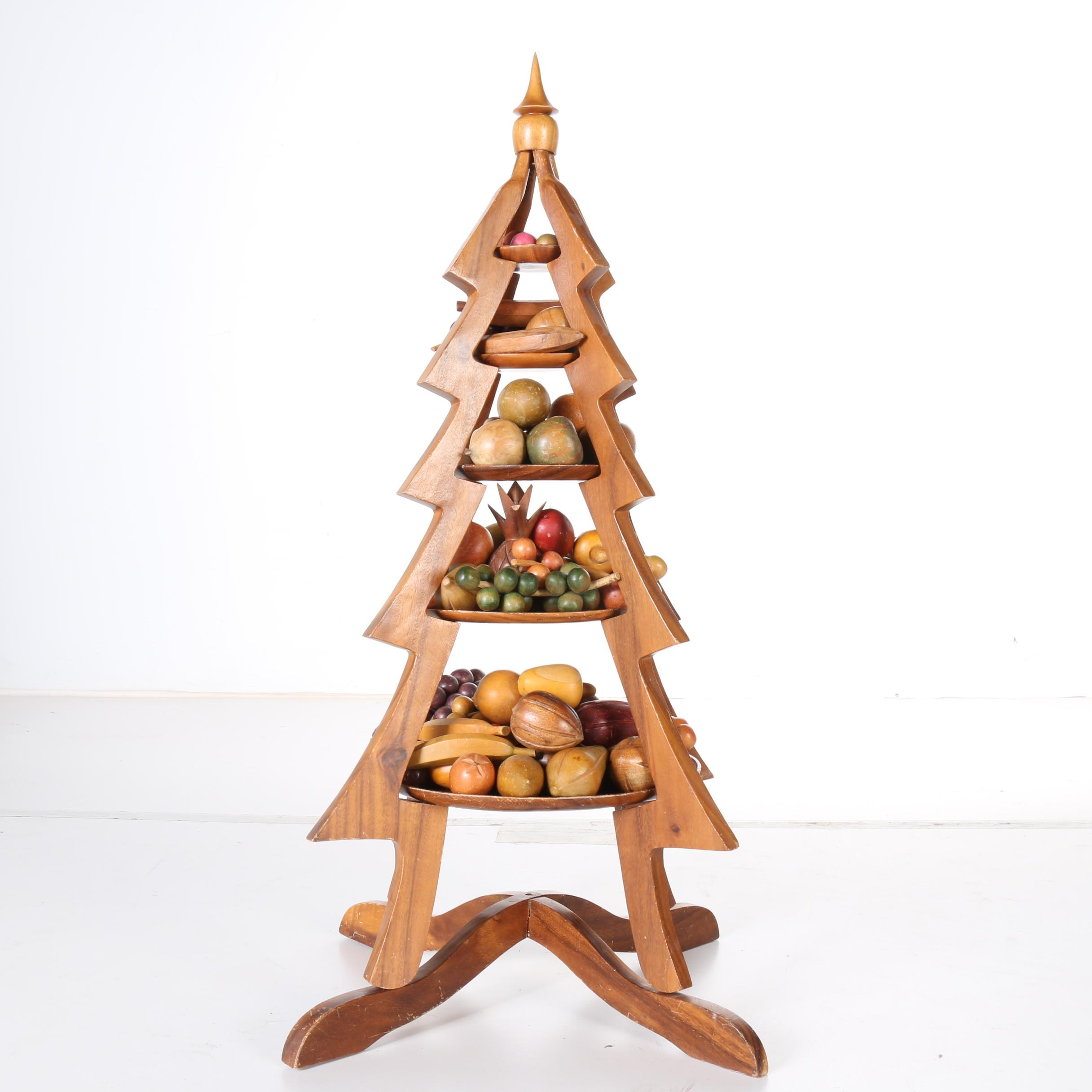 Wooden Fruit and Vegetable Christmas Tree