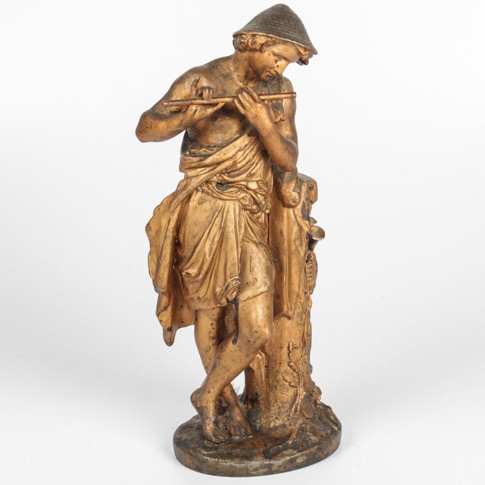 French Gilt Cast Metal Flute Player Sculpture