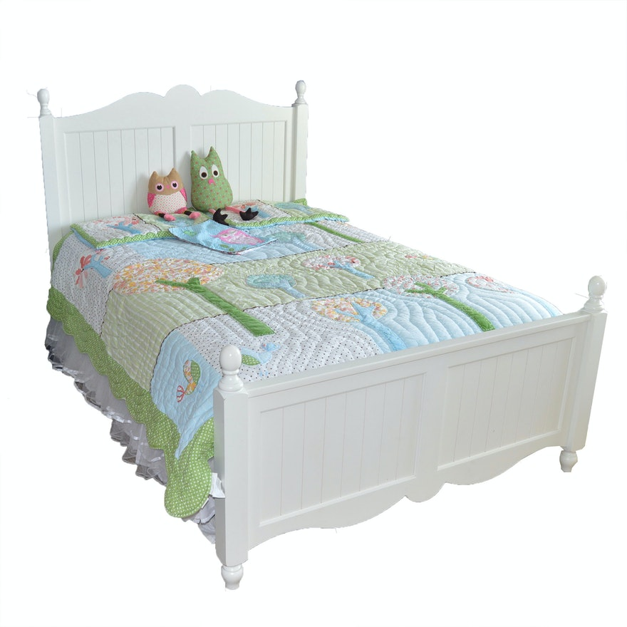 Full Size Pottery Barn Bed Frame and Quilted Bedding Set ...