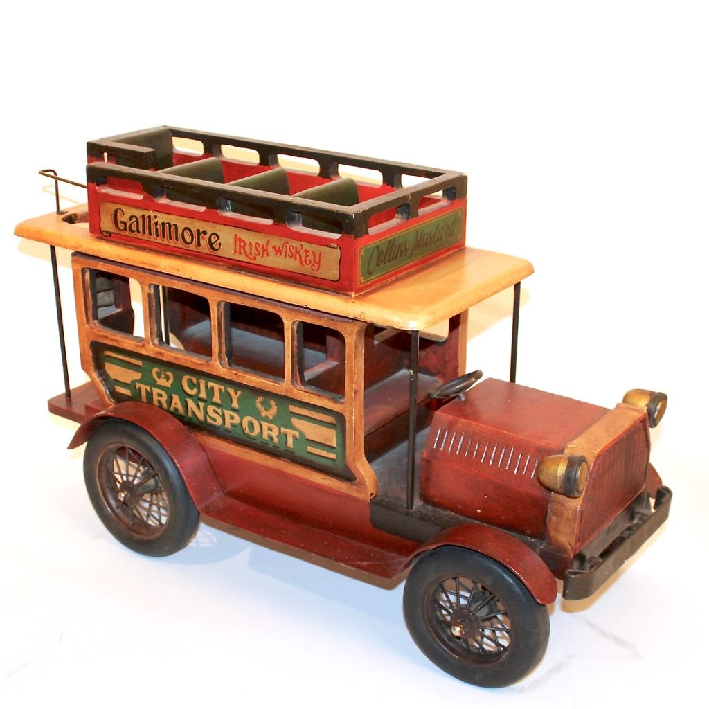Large Wood Decor Replica of Early 20th Century City Transport Bus