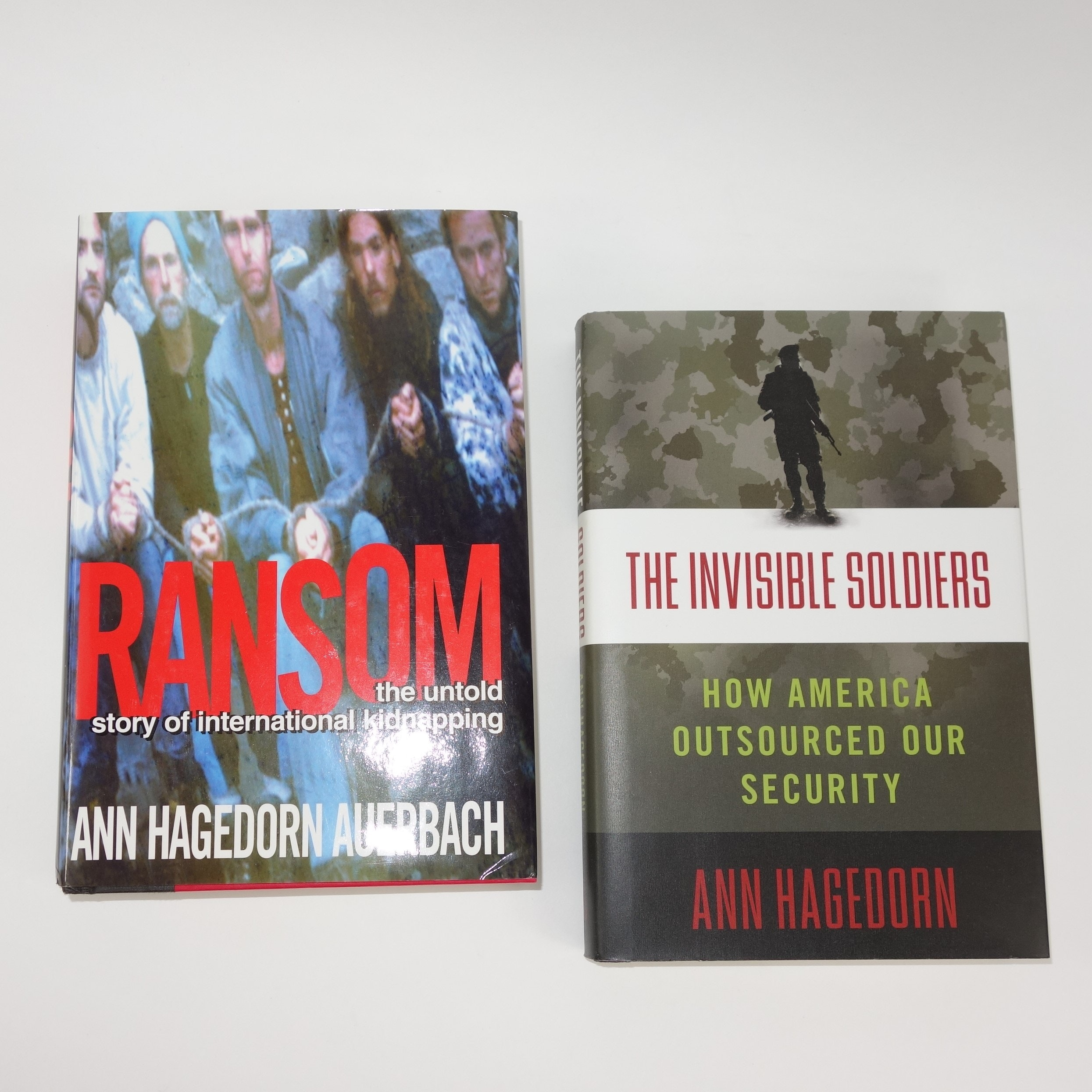 """Signed First Edition Copies of """"The Invisible Soldiers"""" and """"Ransom"""" by Ann Hagedorn"""