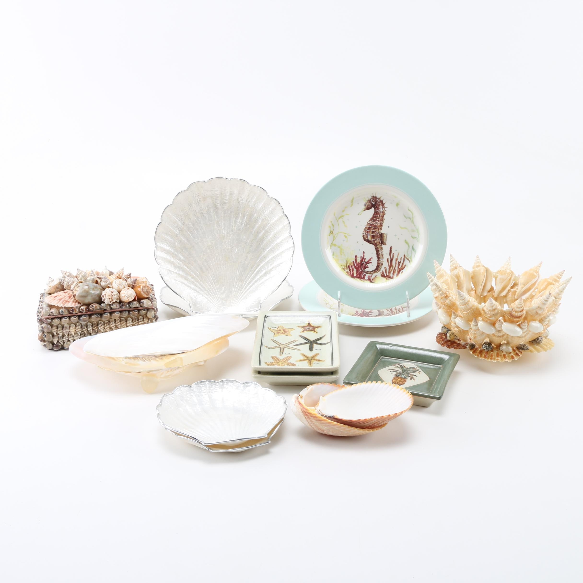 Shell Themed Decor Featuring Seahorse Plates by Dennis East