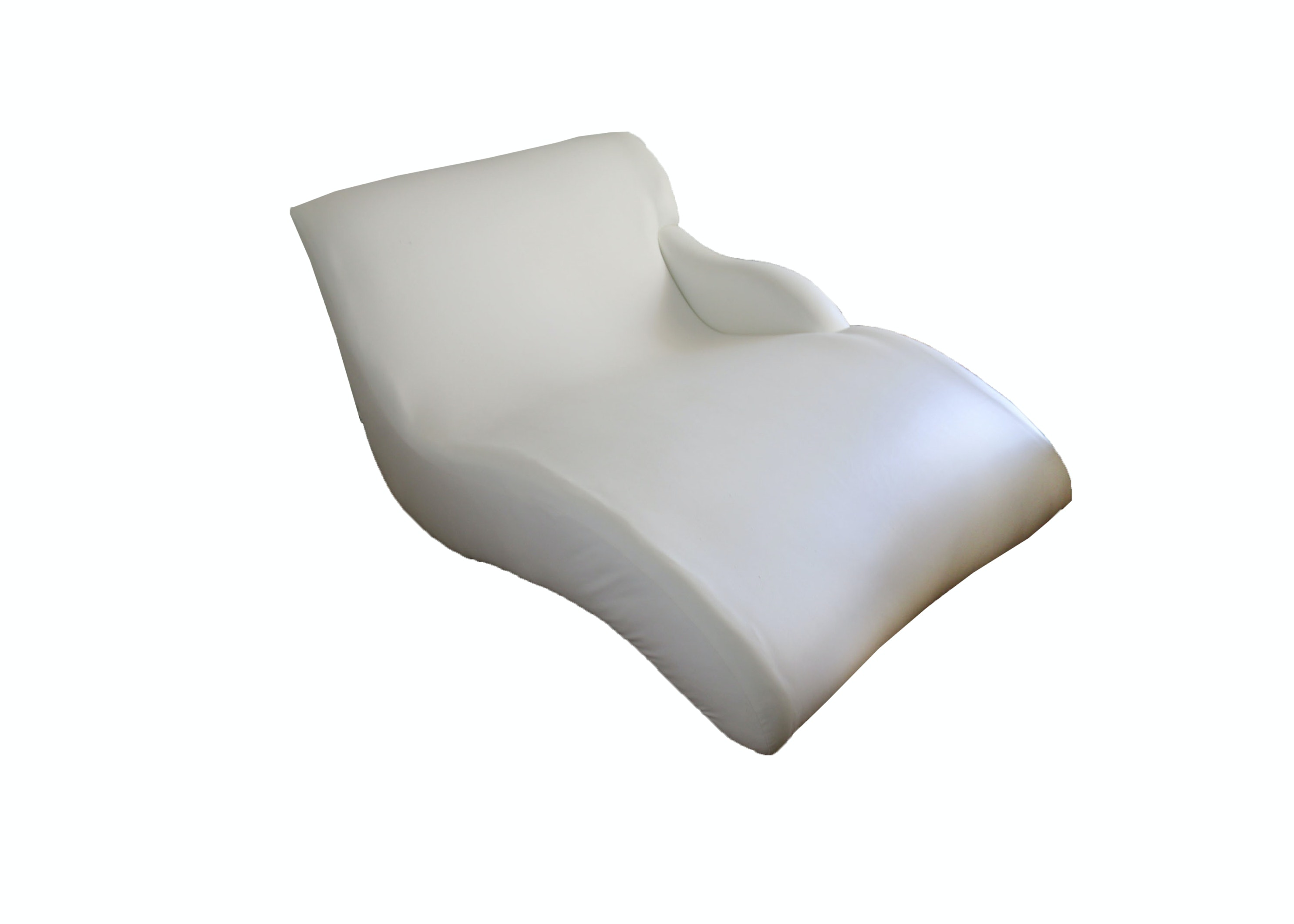 Modernist Style White Faux-Leather Chaise From Cantoni