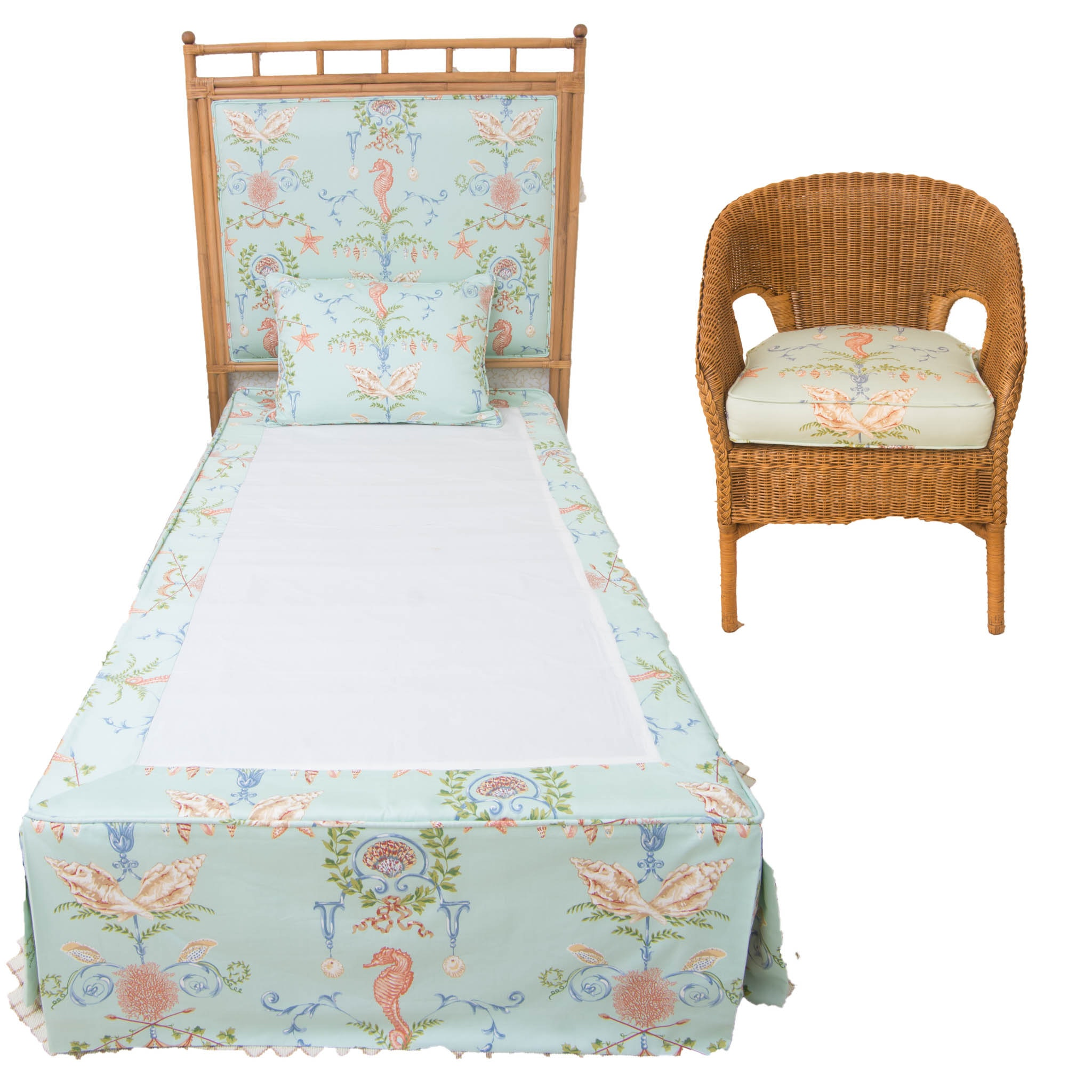 Bamboo Headboard and Wicker Chair With Matching Shell and Seahorse Upholstery
