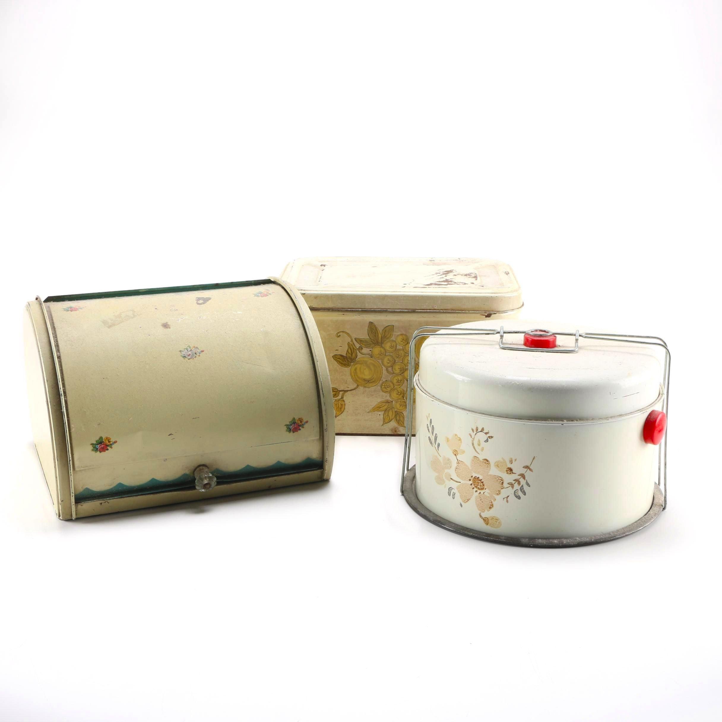 Three Vintage Kitchen Food Storage Containers