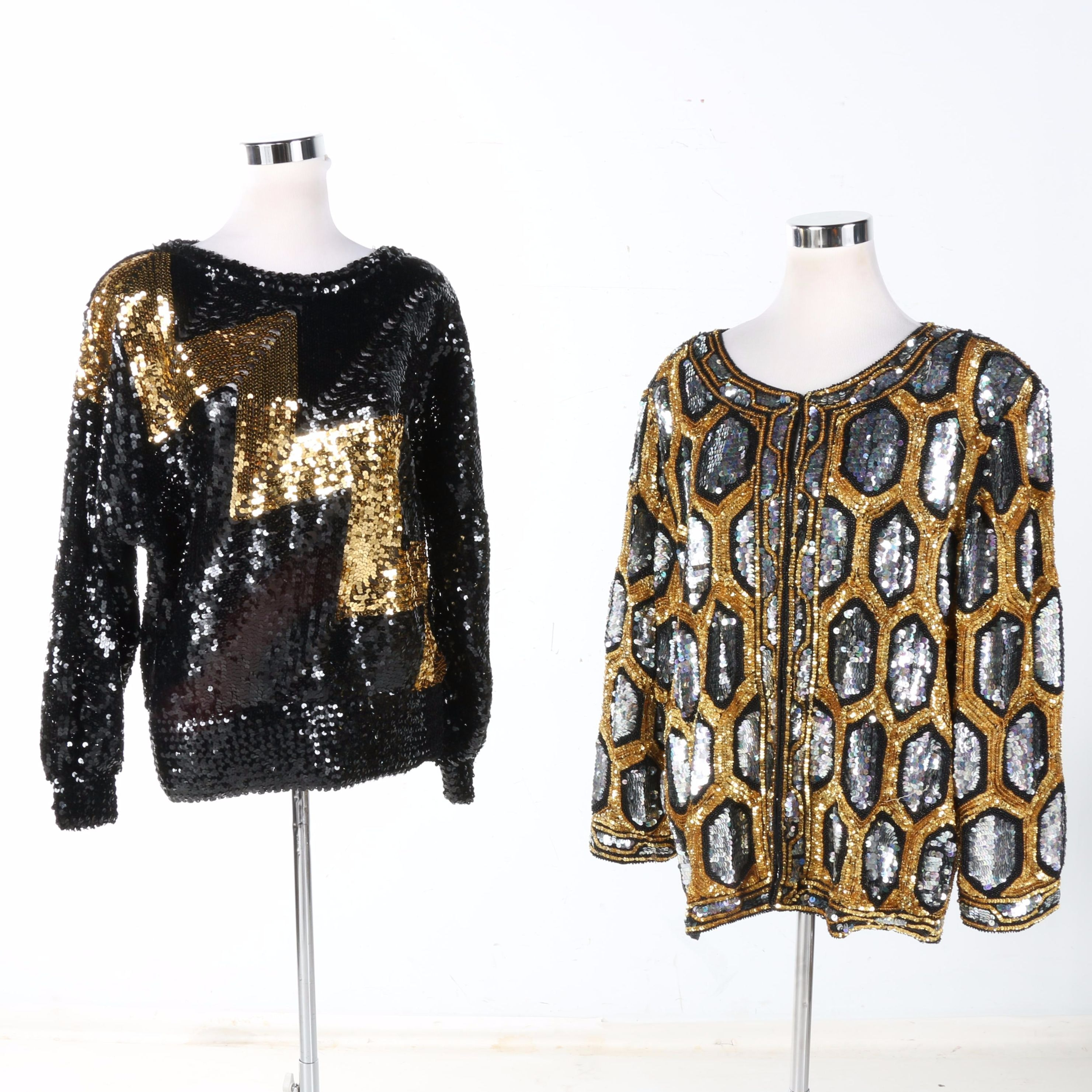 Patterned Sequined Top and Jacket
