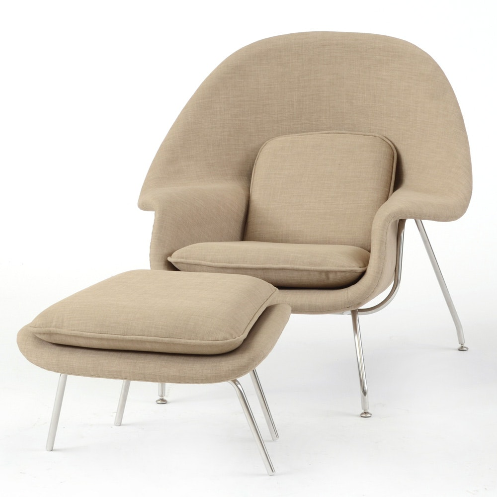 """Modernist """"Womb Chair"""" with Ottoman"""