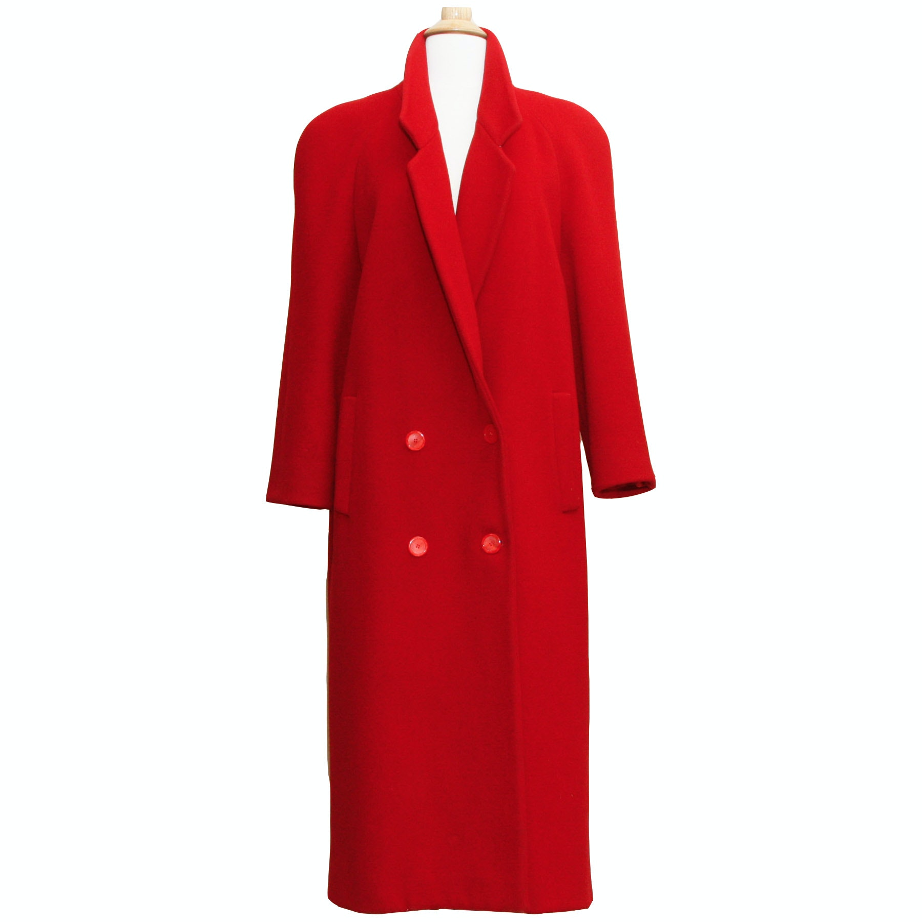 Forstmann Fabulaine Red Wool Double-Breasted Full-Length Coat