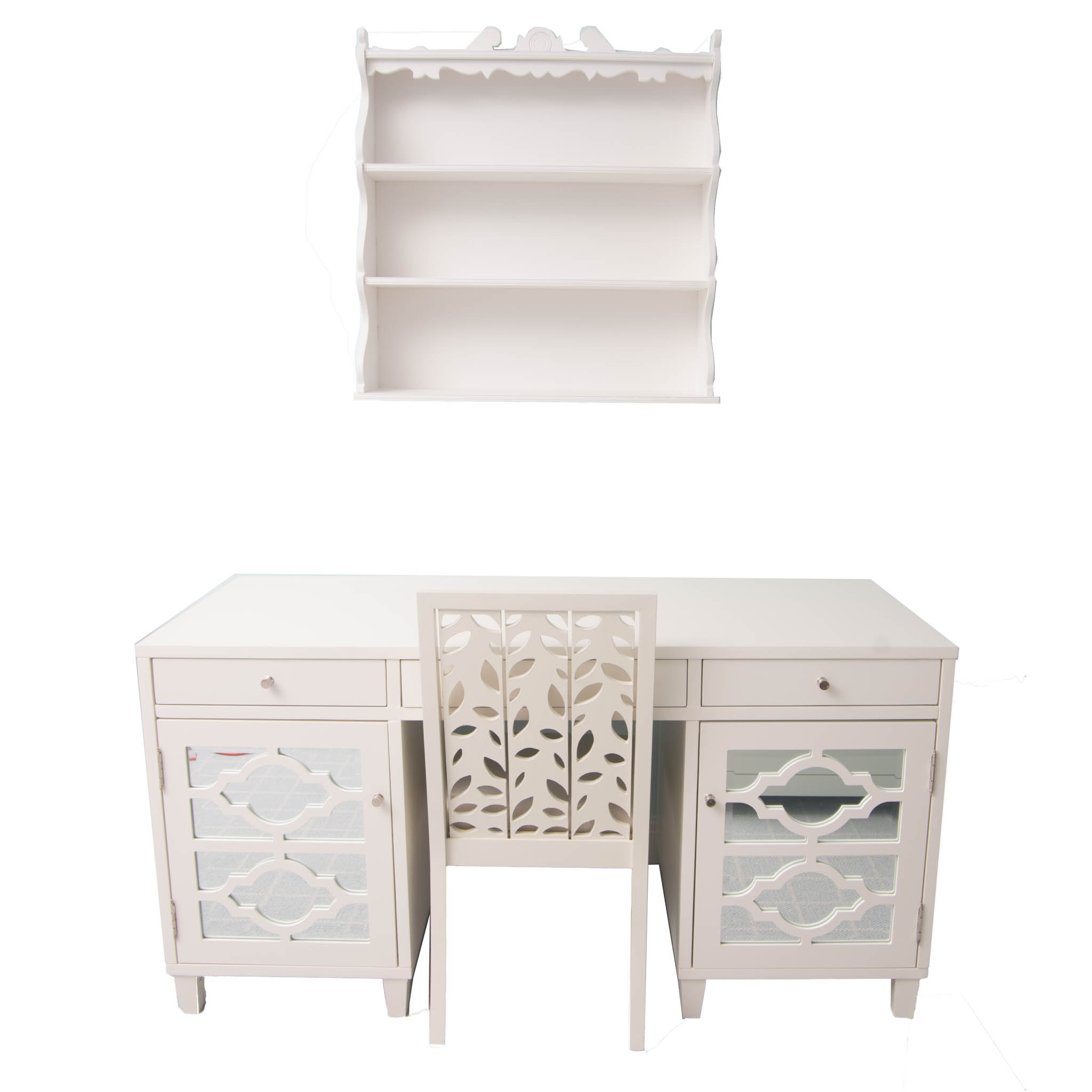 White Desk With Chair and Wall Shelf