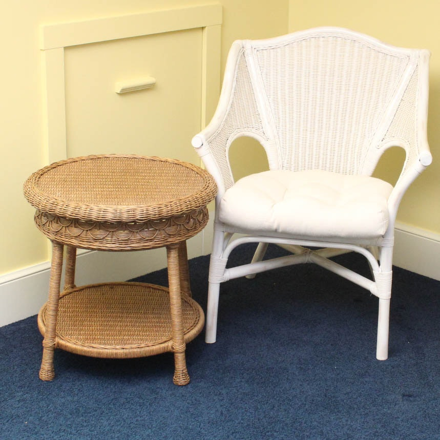 Rattan Wicker Table and Chair