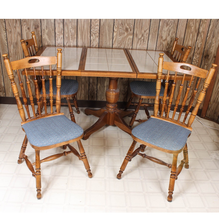 Wooden Tile Top Dining Table And Chairs