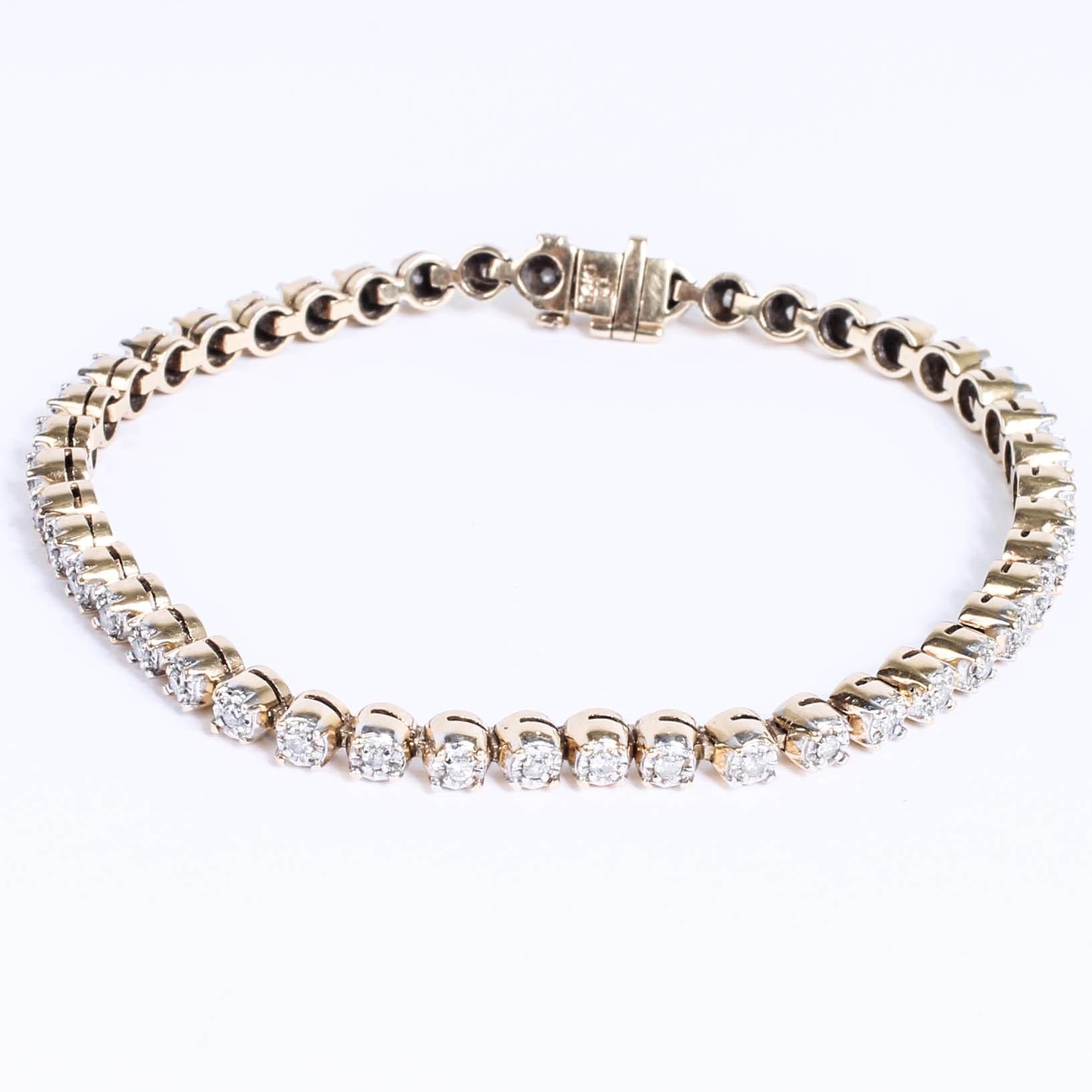 14K Yellow Gold and Diamond Barrel Link Bracelet