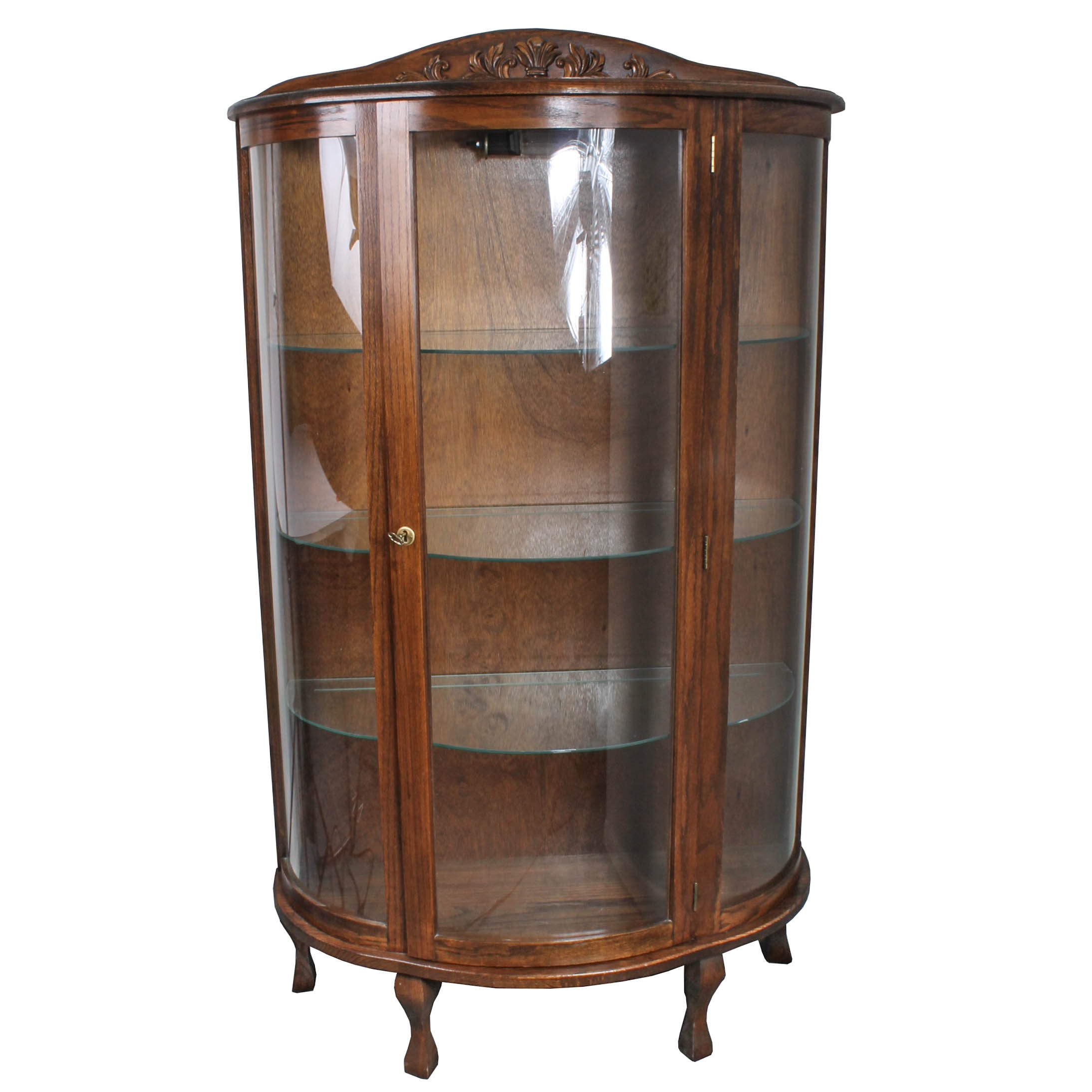 Vintage Oak and Glass Vitrine Cabinet