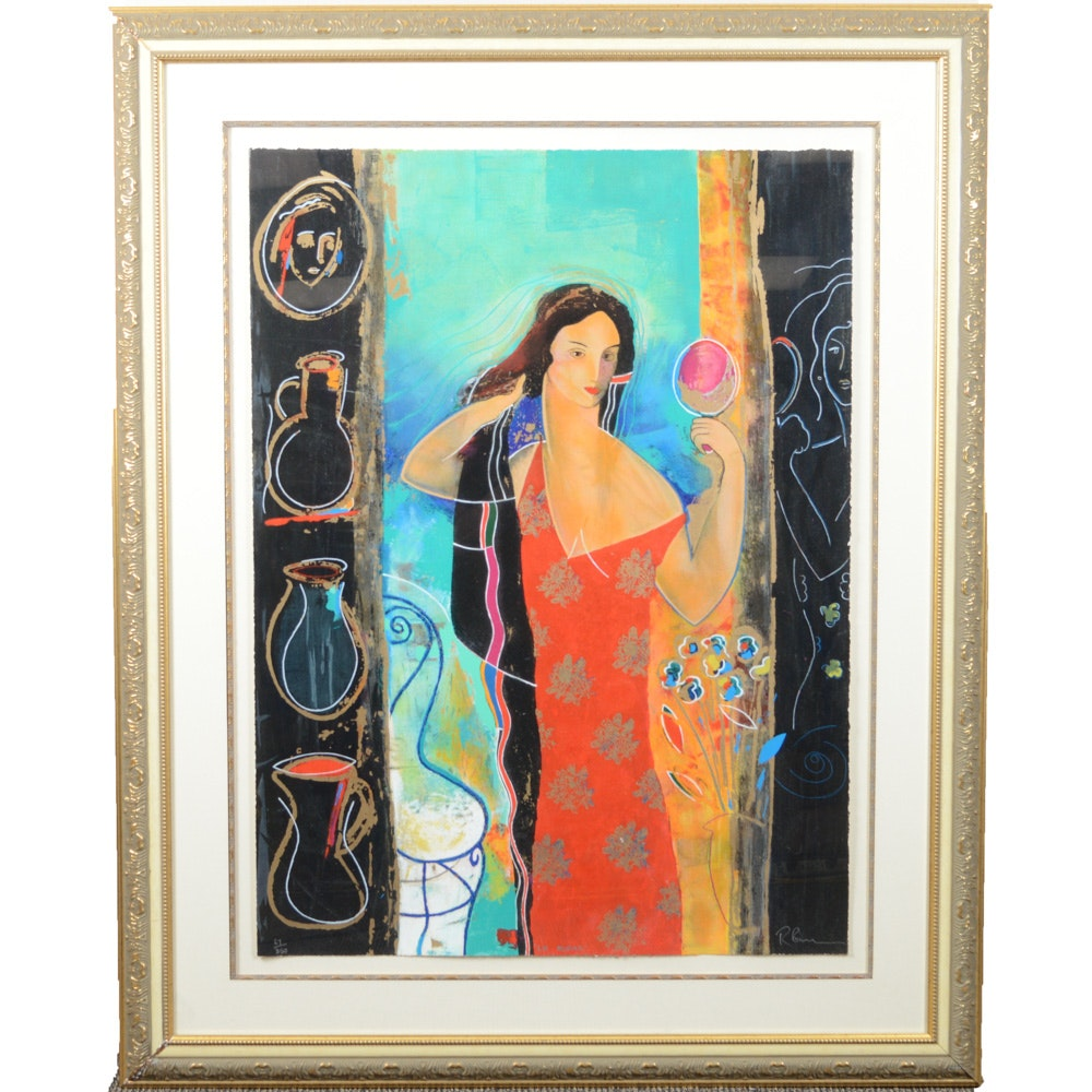 """Russell Baker Limited Edition Serigraph """"Le Miroir"""""""