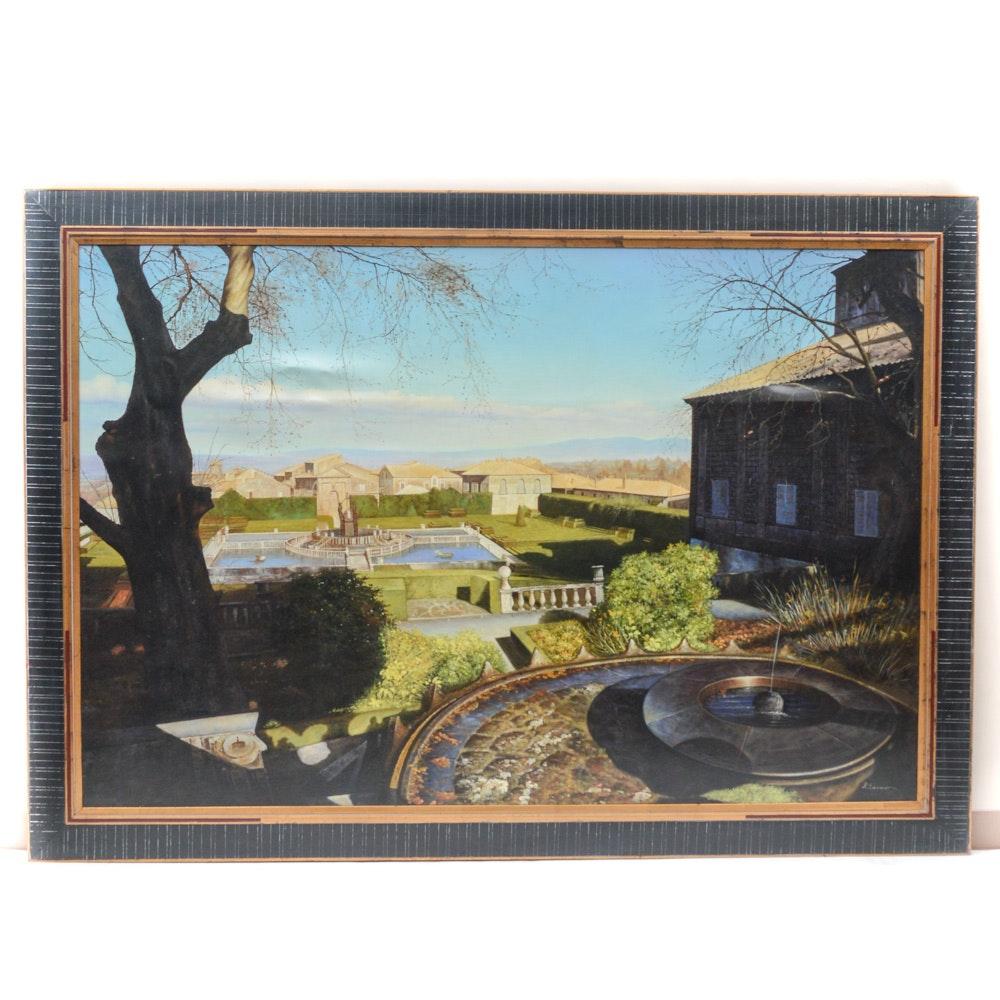 Oversize Framed European Vista Painting on Canvas