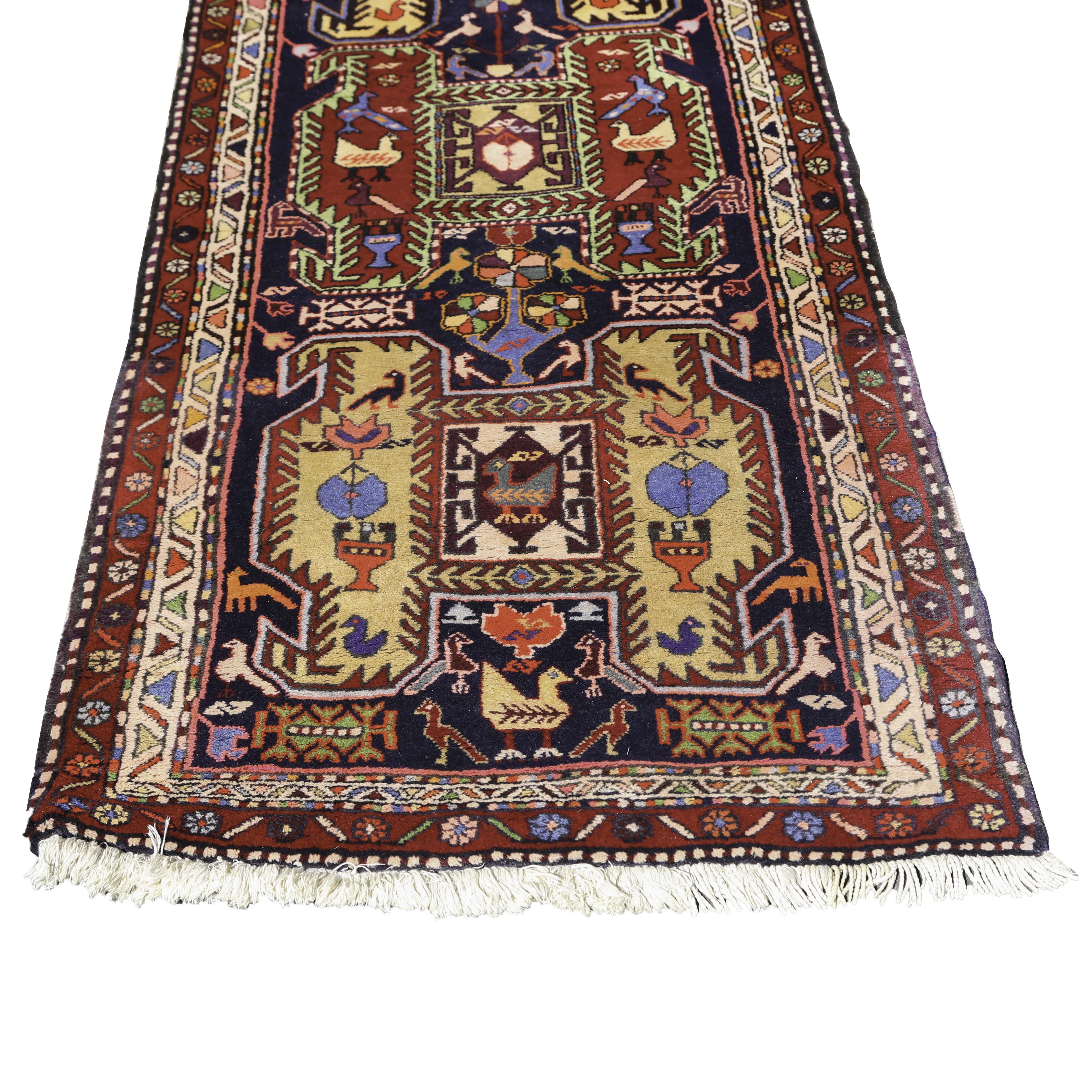 Colorful Hand-Knotted Northwest Persian Pictorial Carpet Runner