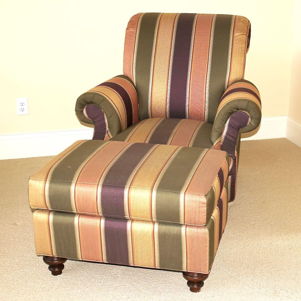 "Custom Taylor King ""Chloe"" Lounge Chair in Striped Fabric + Ottoman"