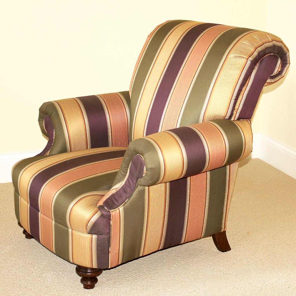 "Custom Taylor King ""Chloe"" Lounge Chair in Striped Fabric"