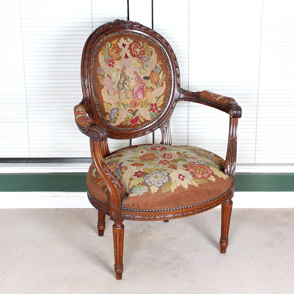 Reproduction Louis XVI Style Needlepoint Balloon Back Chair ...