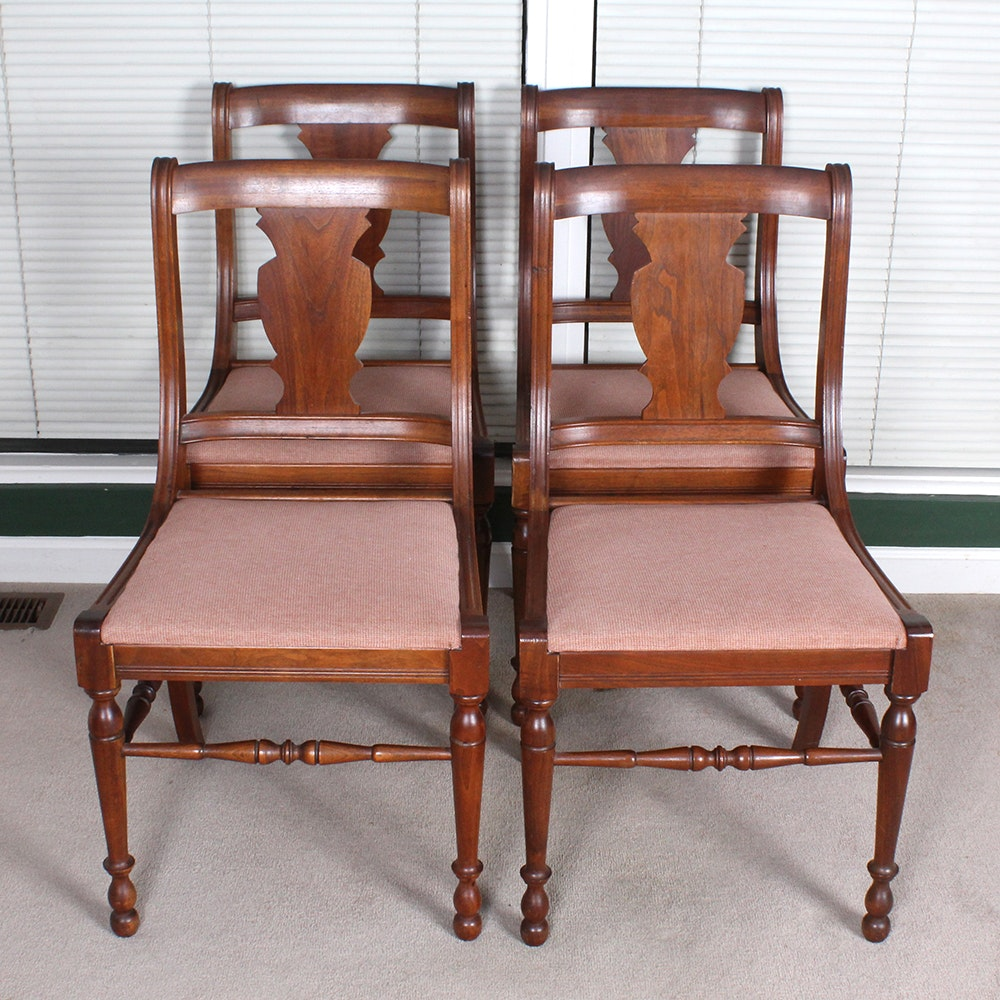 Vintage Walnut Side Chairs By Queen City Products ...