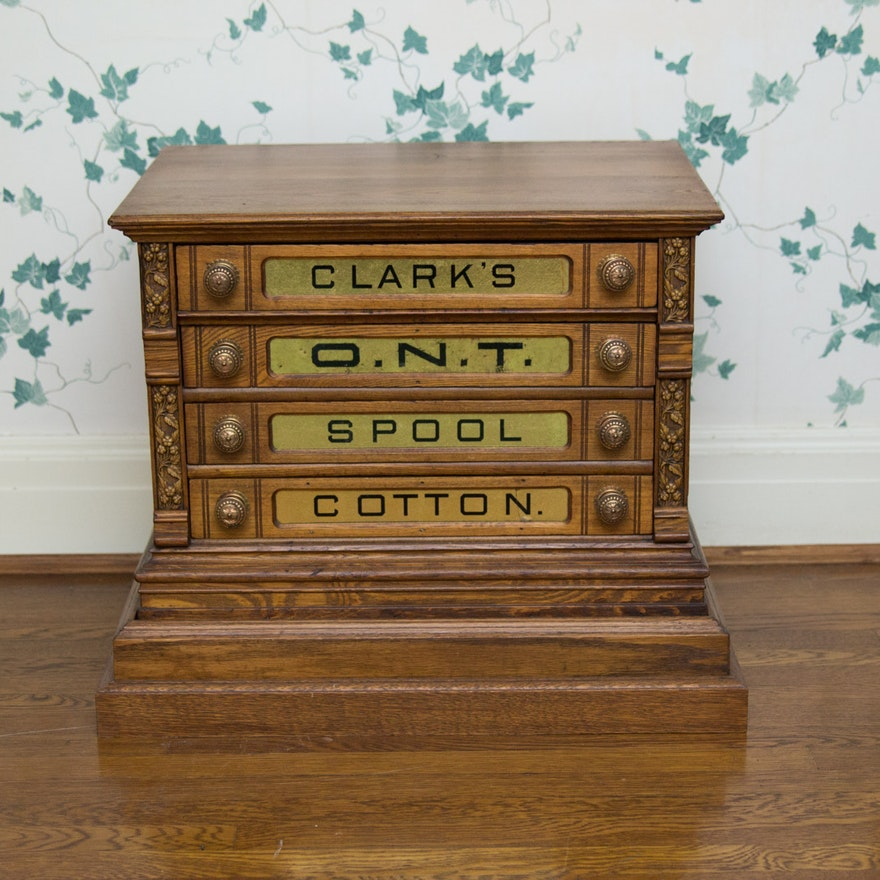 Antique Clark's O.N.T. Cotton Spool Cabinet with ... - Antique Clark's O.N.T. Cotton Spool Cabinet With Base : EBTH