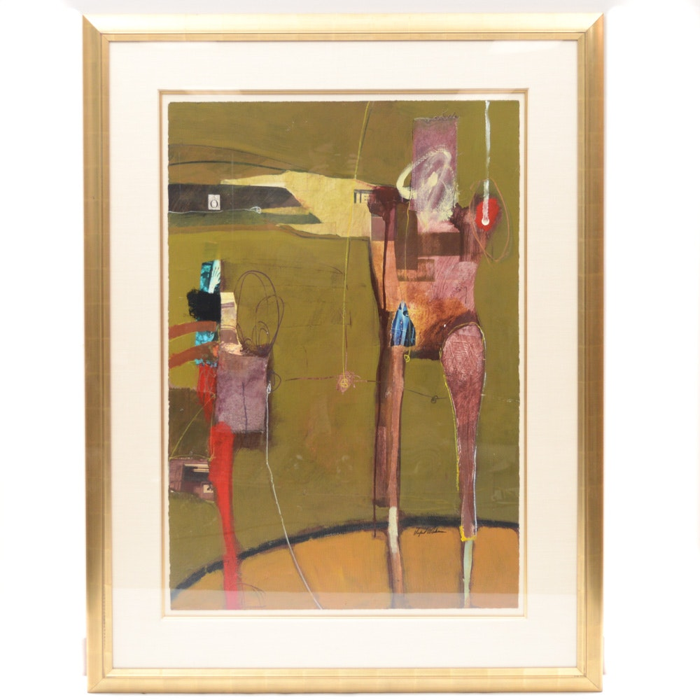 Sanford Wakeman Abstract Mixed Media Painting on Paper